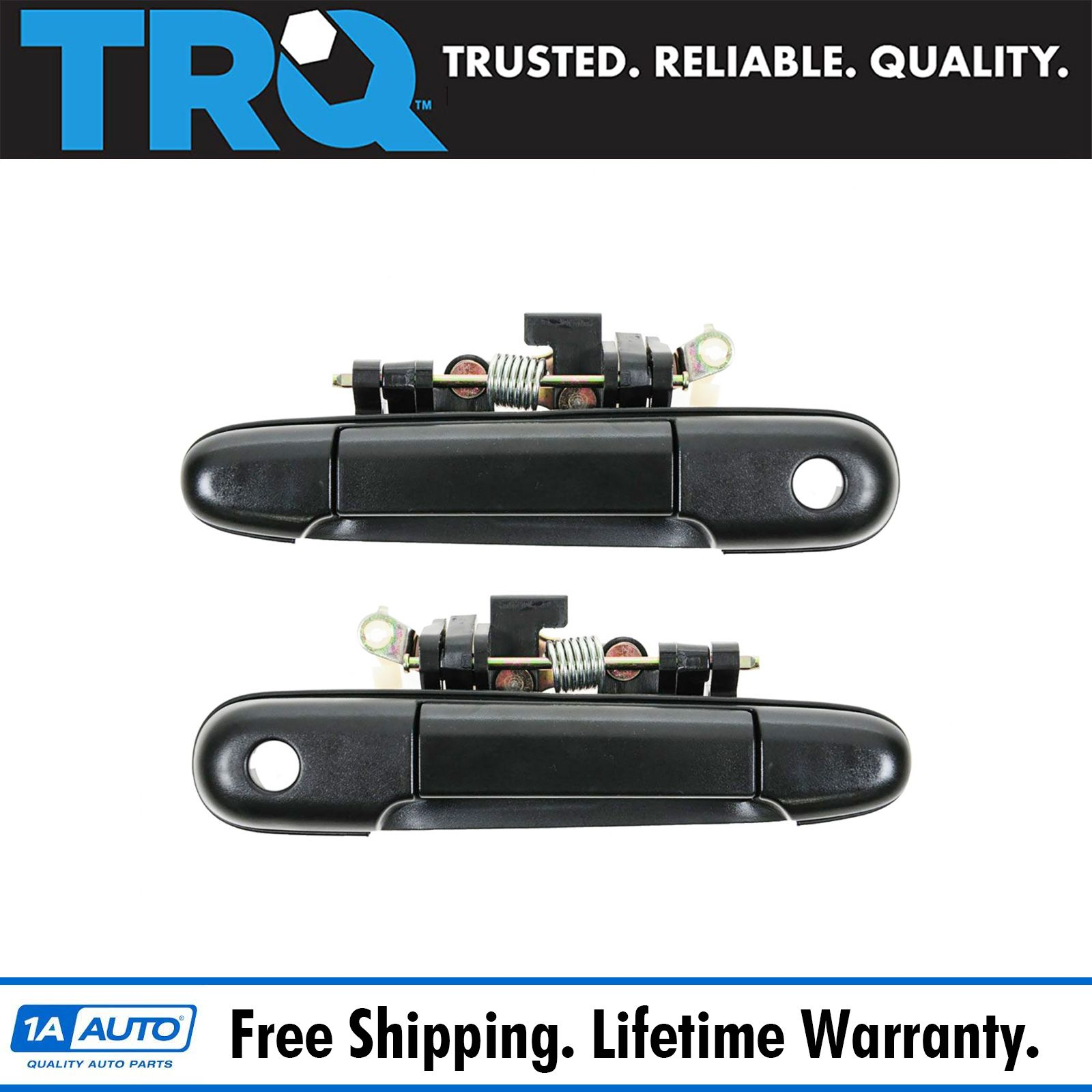 Front black outer outside exterior door handle pair set of 2 for tercel paseo ebay - Black door handle sets ...