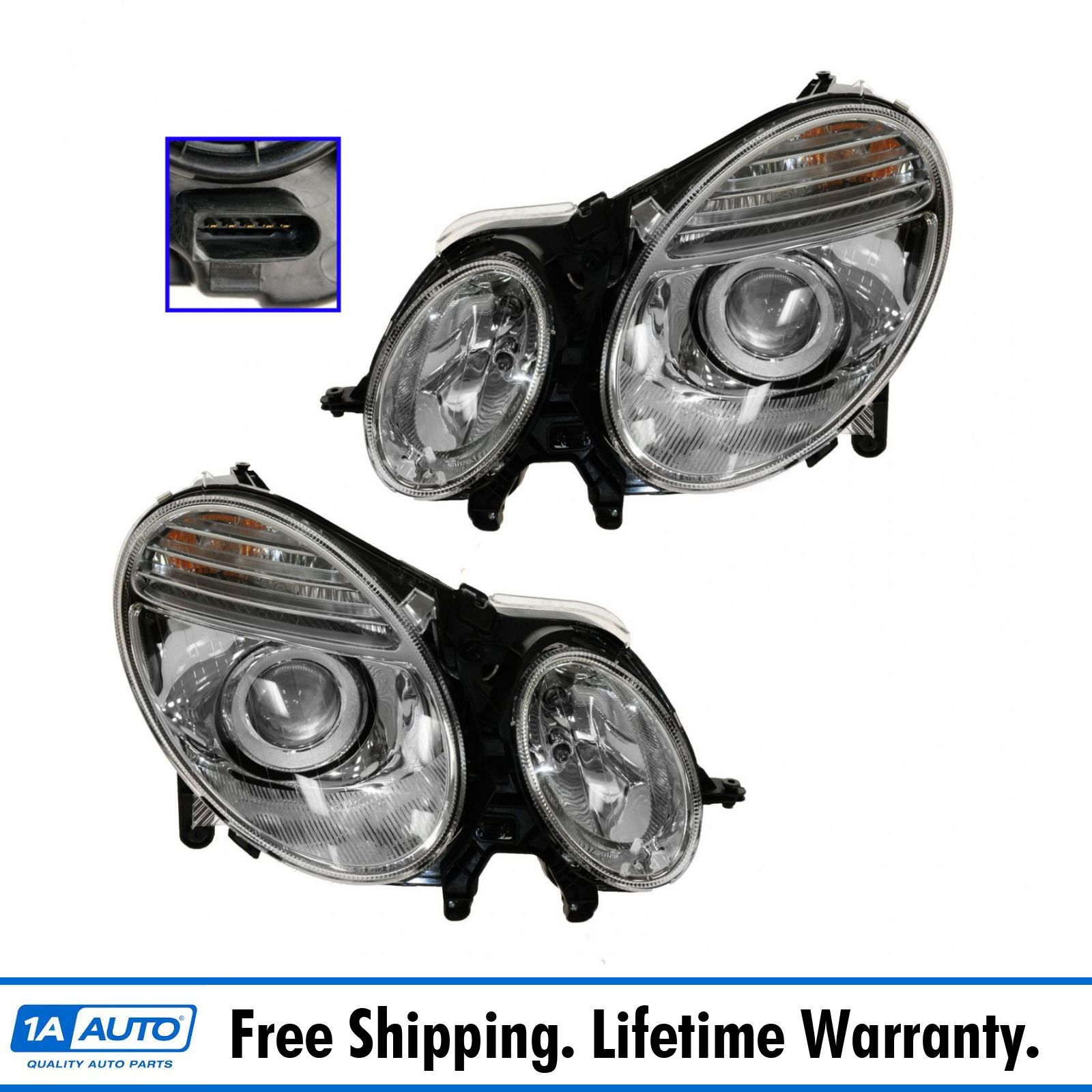 Hid xenon headlights headlamps left right pair set for for Mercedes benz xenon headlights