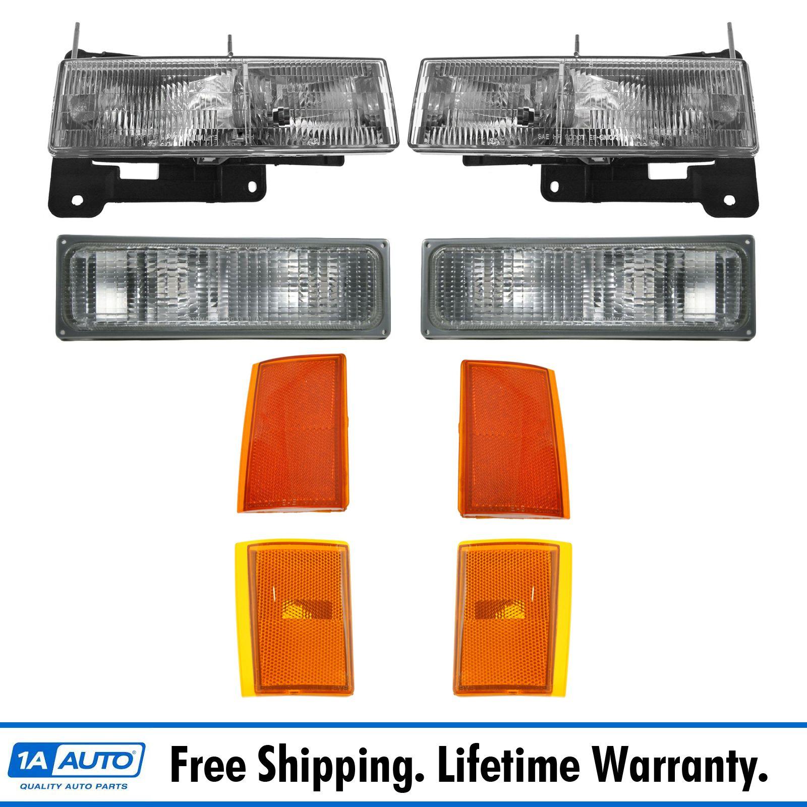 Headlights Corner Parking Lights Left Right Set Kit For 90 93 Chevy Truck Ebay