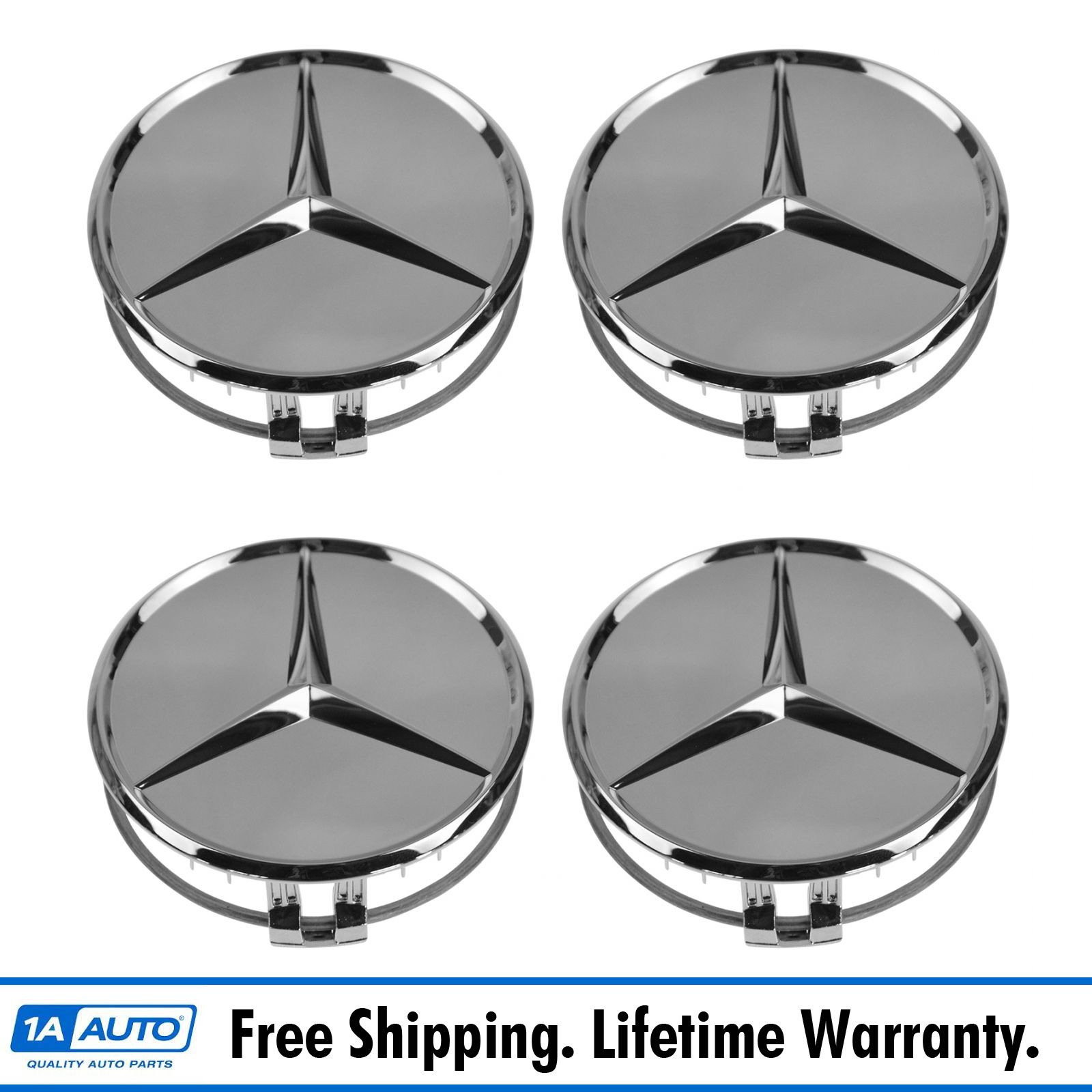Oem wheel center cap with raised star set of 4 chrome for for Mercedes benz center cap