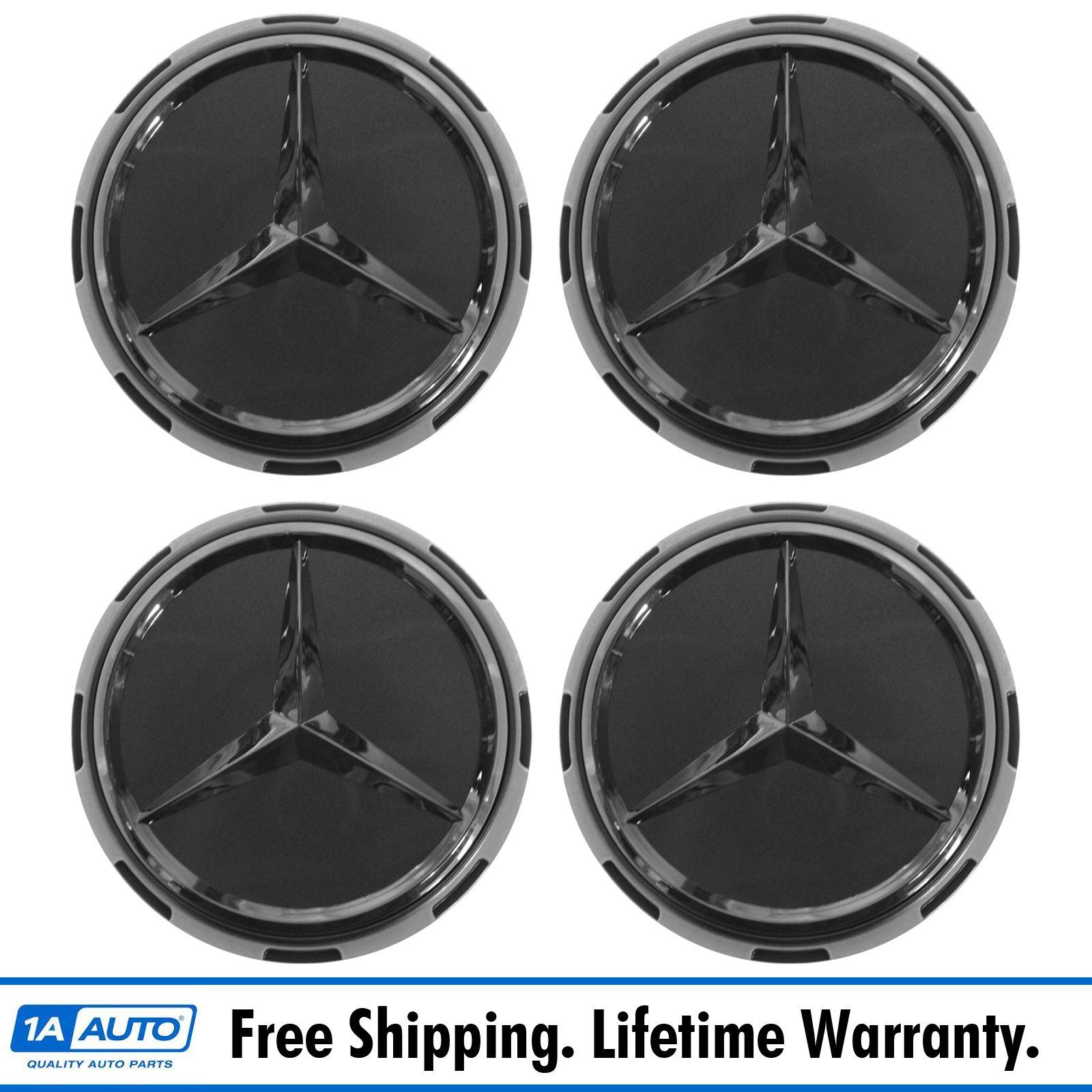Oem center cap raised logo gray chrome set of 4 for for Mercedes benz center cap