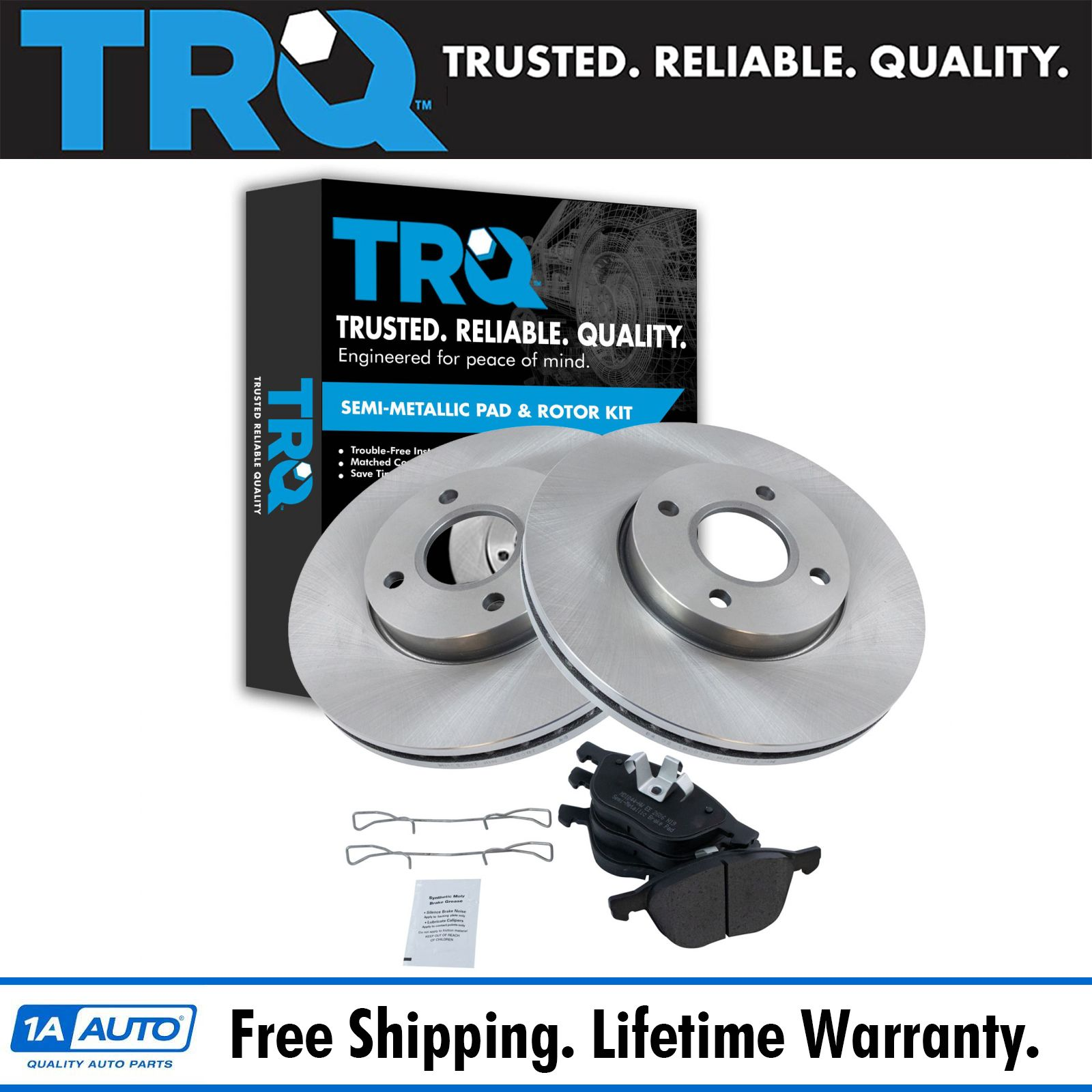 Front Coated Disc Rotors /& Semi-Metallic Brake Pads Fits Ford Focus