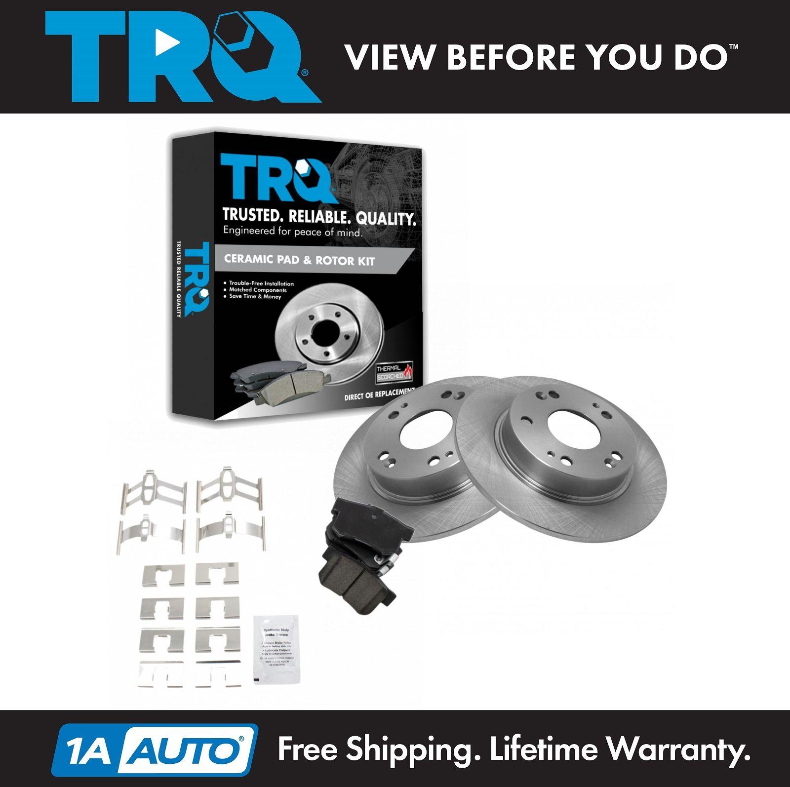 TRQ Rear Ceramic Brake Pad & Rotor Kit For Honda Civic SI