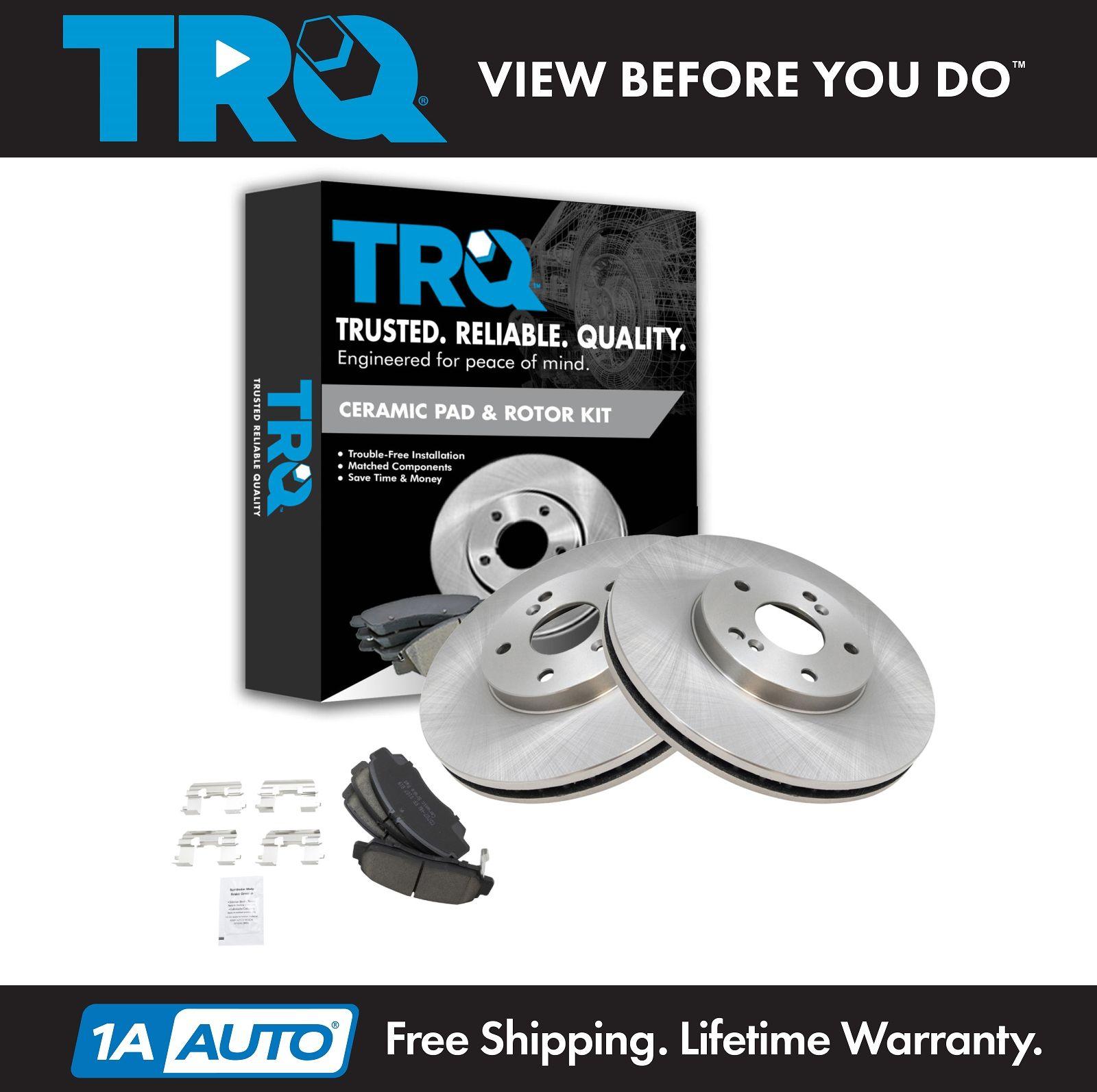 TRQ Front Ceramic Brake Pad & Disc Rotor Kit For Honda