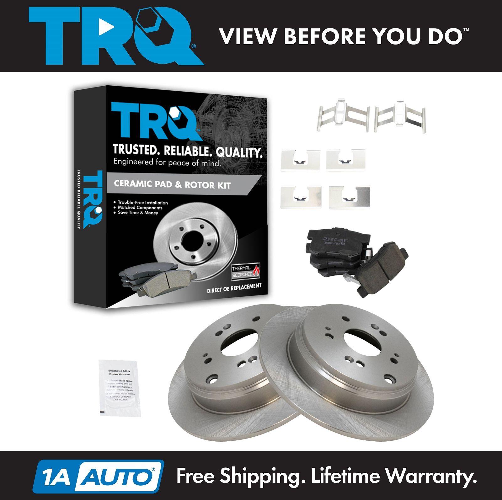TRQ Rear Premium Posi Ceramic Disc Brake Pad & Rotor Kit