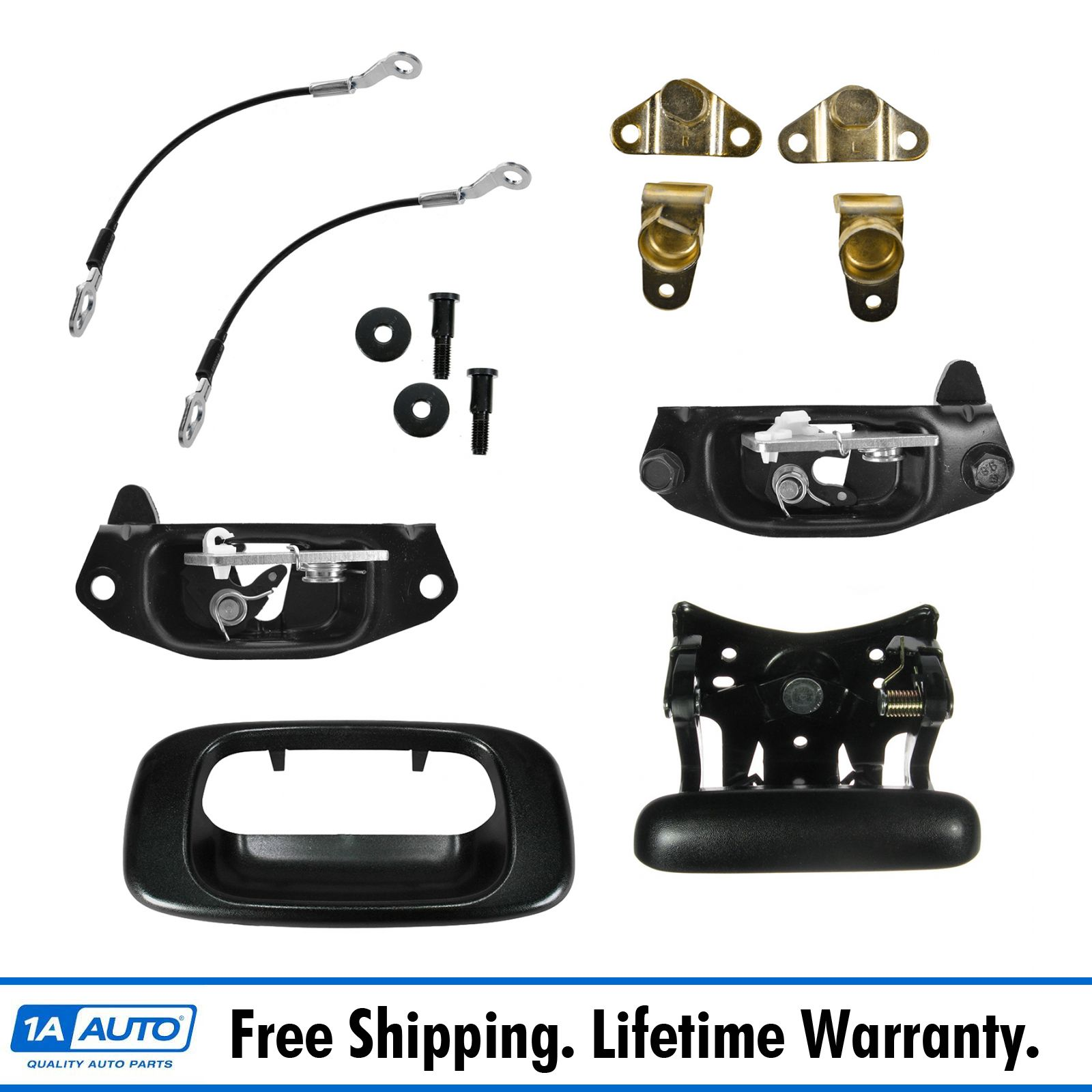 FEXON Rear Tailgate Latch Lock Handle Bezel Cable Kits Replacement for Chevy Avalanche Silverado GMC Sierra 1500 2500 3500 HD 1999-2006 Cadillac Escalade EXT 2002-2006 Replace 15921948 15921949