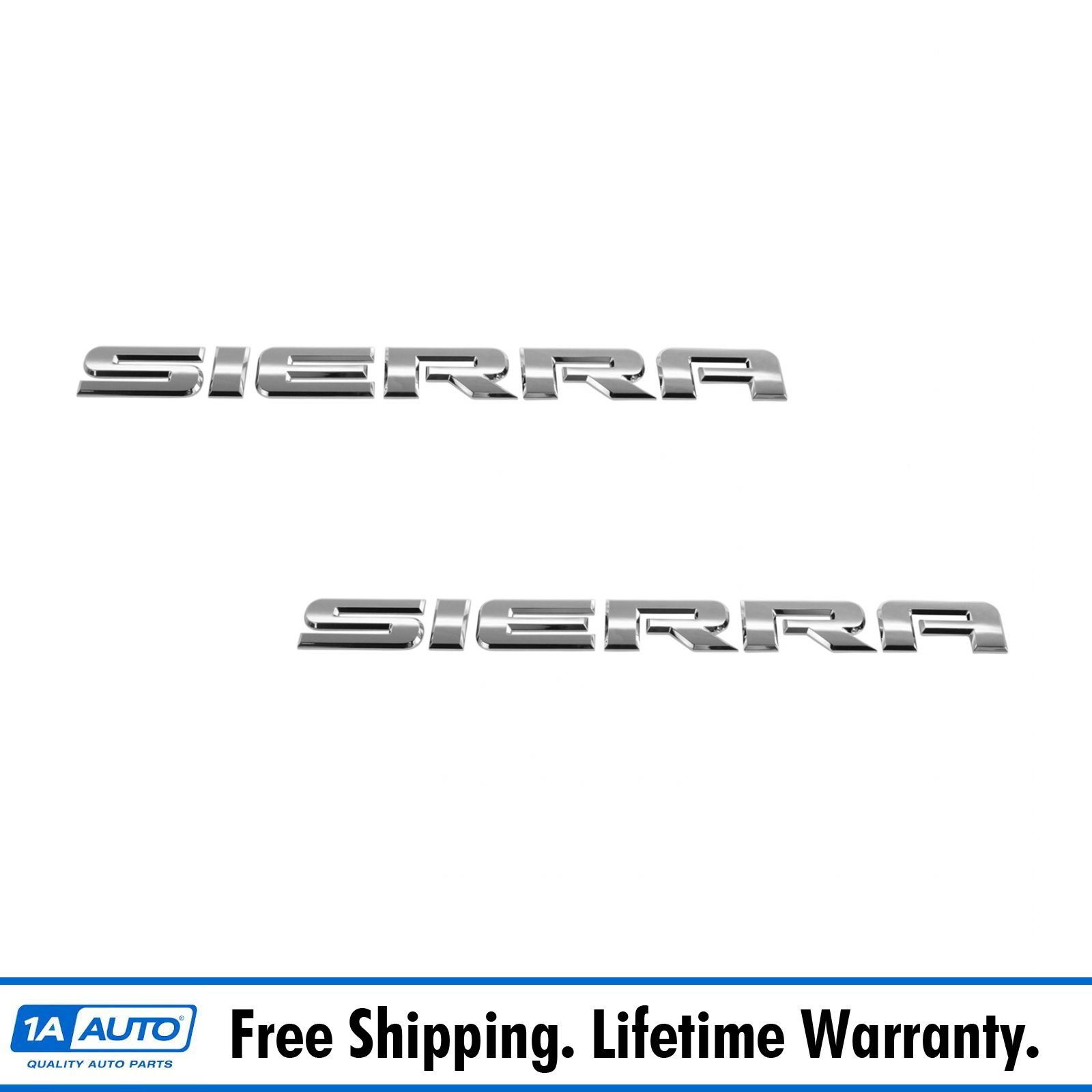 OEM 15129653 Sierra Door Nameplate Emblem Chrome Pair Set for GMC Pickup Truck
