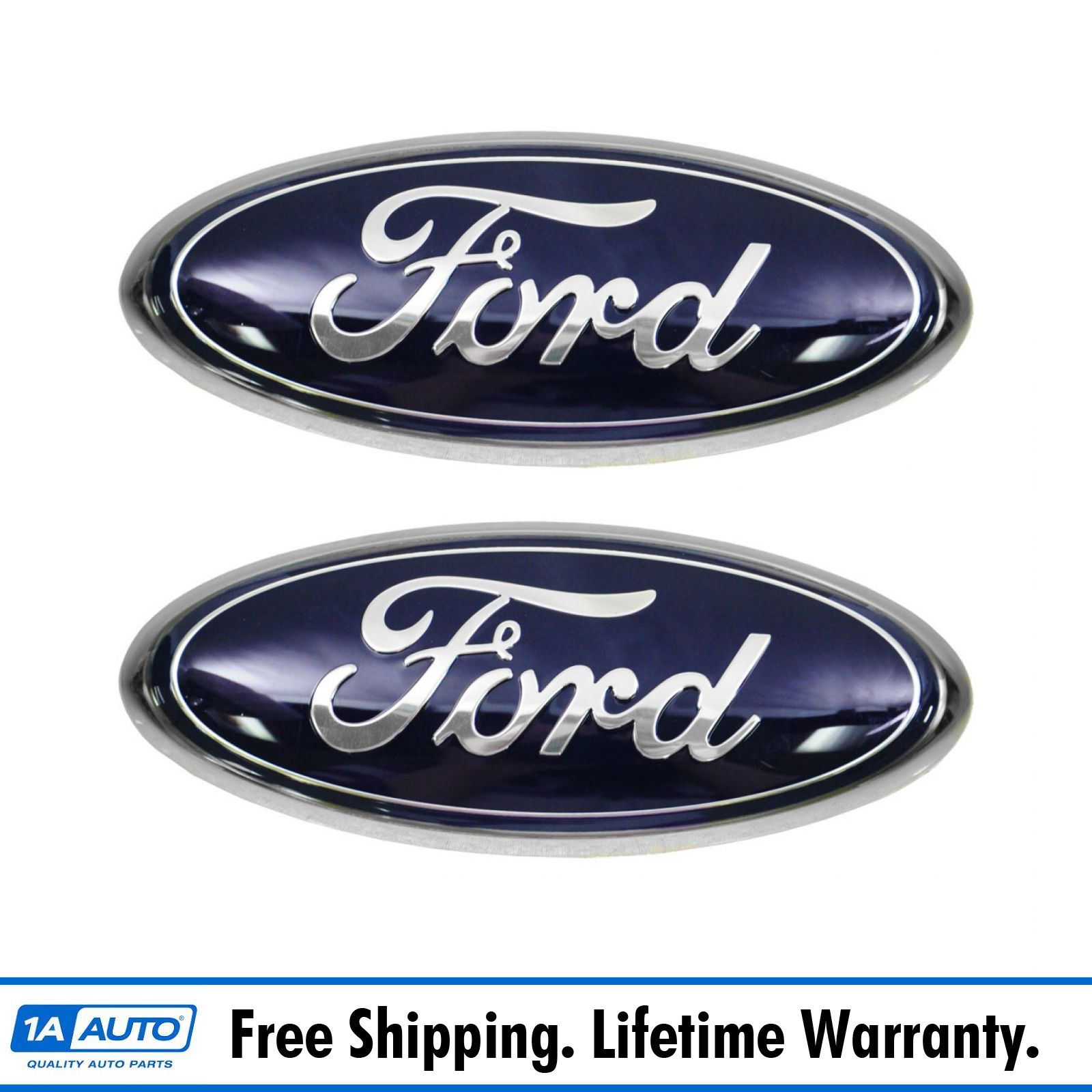NEW OEM FORD BLUE CHROME OVAL FRONT GRILL NAMEPLATE EMBLEM AL3Z-9942528-B