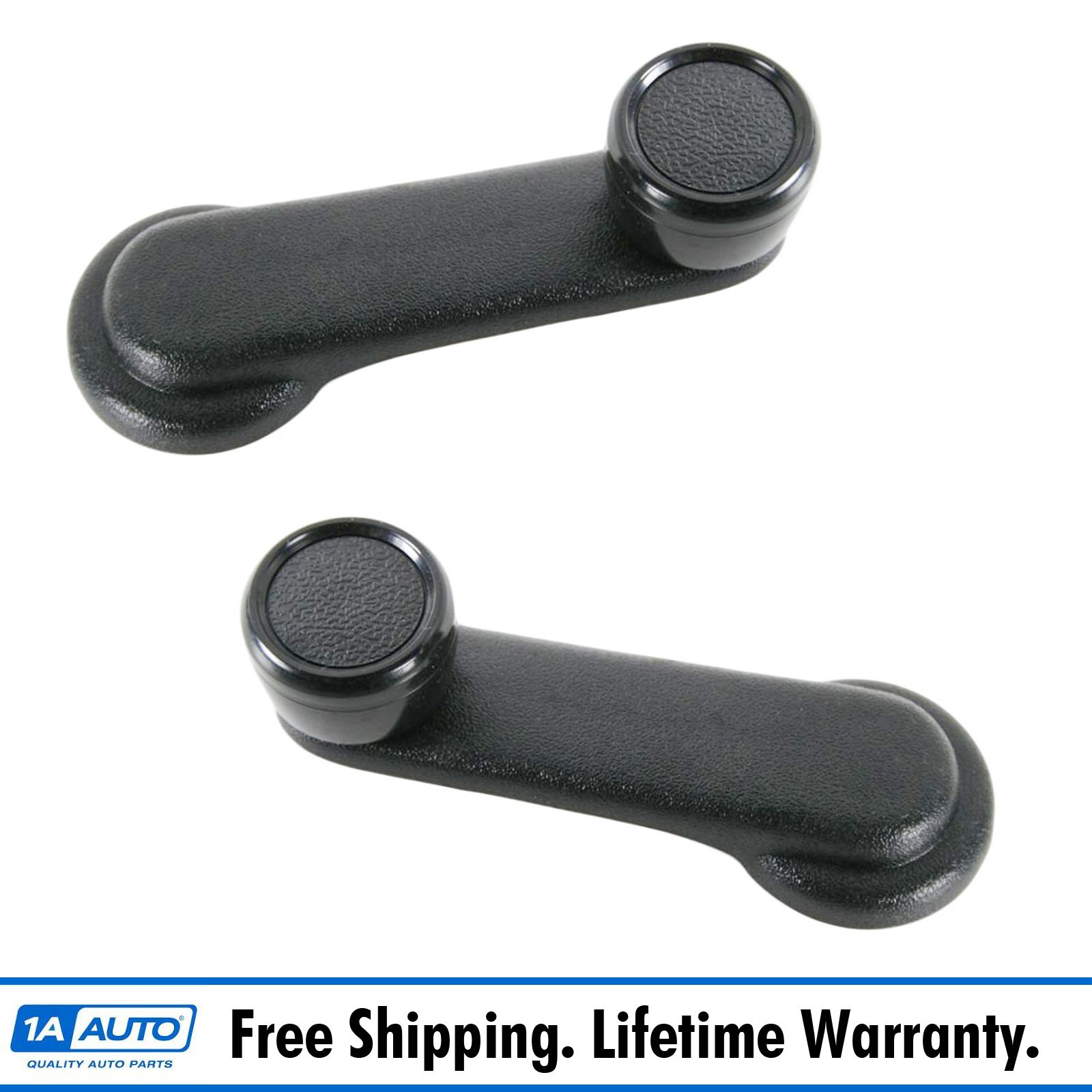 Left Driver and Right Passenger Side Black Window Crank Handle Lever Pair