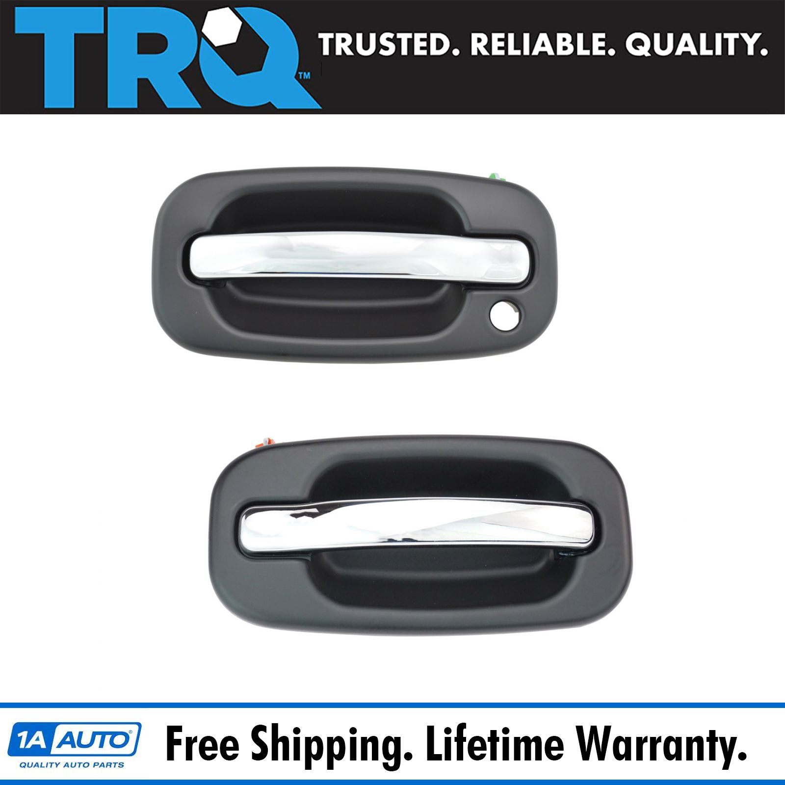 Door Handles Outside Black /& Chrome Front Pair Set for Expedition Navigator
