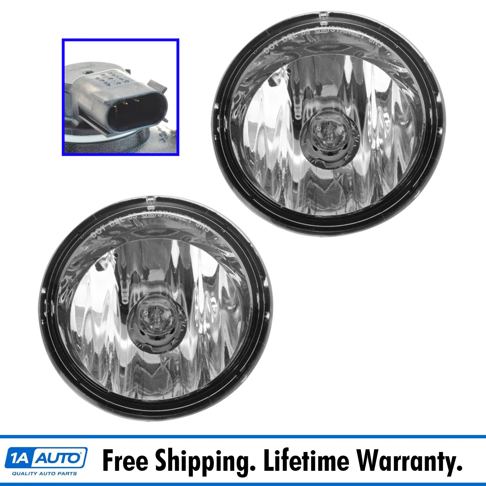 Driver /& Passenger Side DNA Motoring FL-HC064-CH Fog Light Assembly ,Chrome