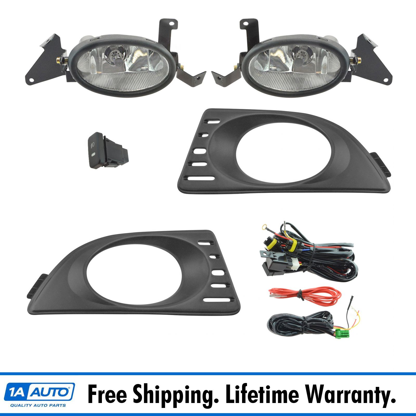 Add On Upgrade Clear Lens Fog Light Bulb Switch Wiring Kit Set for Acura RSX New