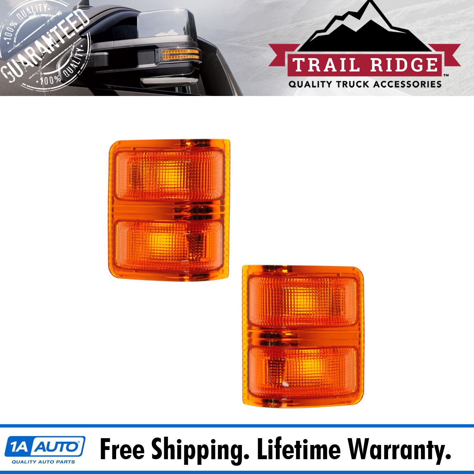 Tow Mirror Turn Signal Light Lens Lh Amber Rh Pair Set For