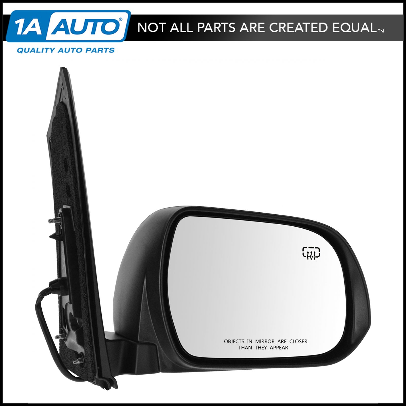 mirror power heated black blind spot passenger side rh for toyota