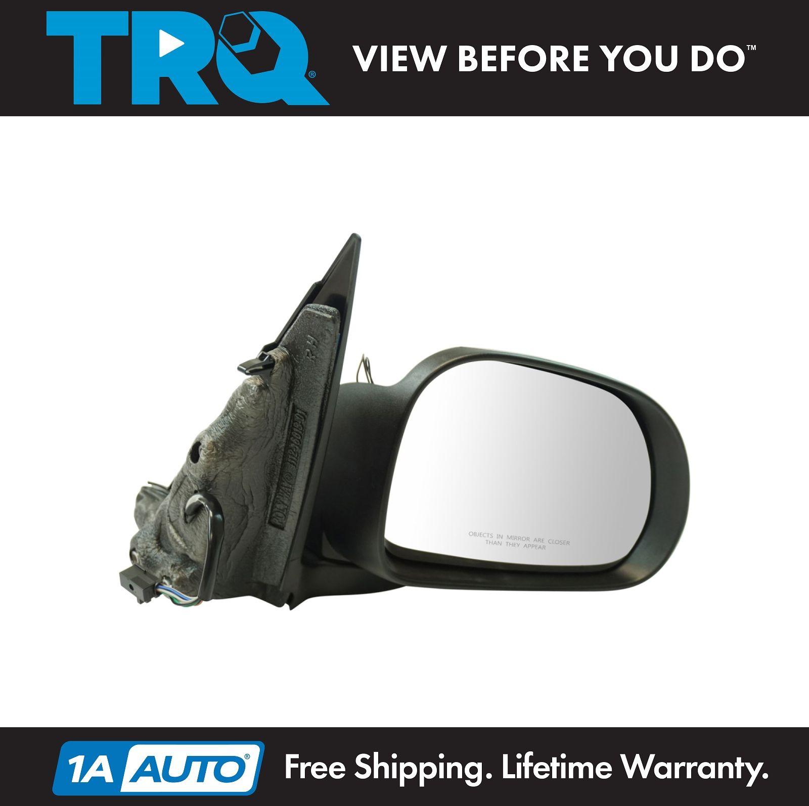 TRQ Exterior Power Mirror Heated w// Temp Sensor Black Smooth RH RF for Fiat New