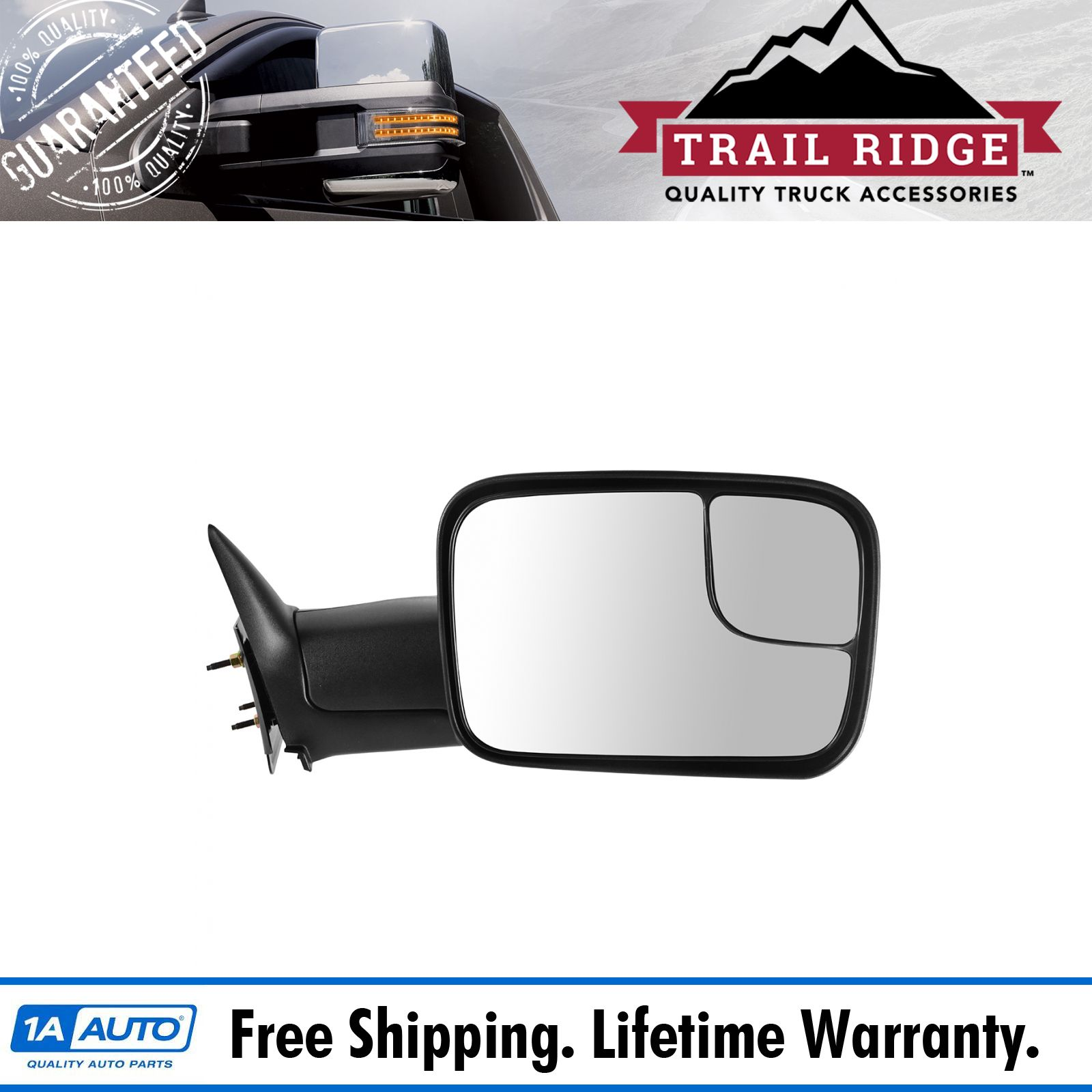 New Manual Towing Right Rh Side View Mirror For Dodge Ram Pickup