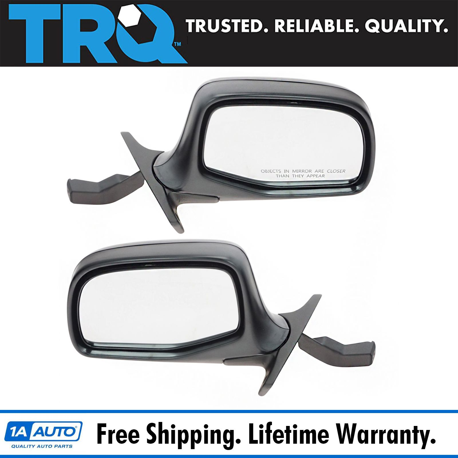 Fits 92 93 94 95 96 Ford F150 F250 F350 Mirror Driver NEW Power Black and Chrome