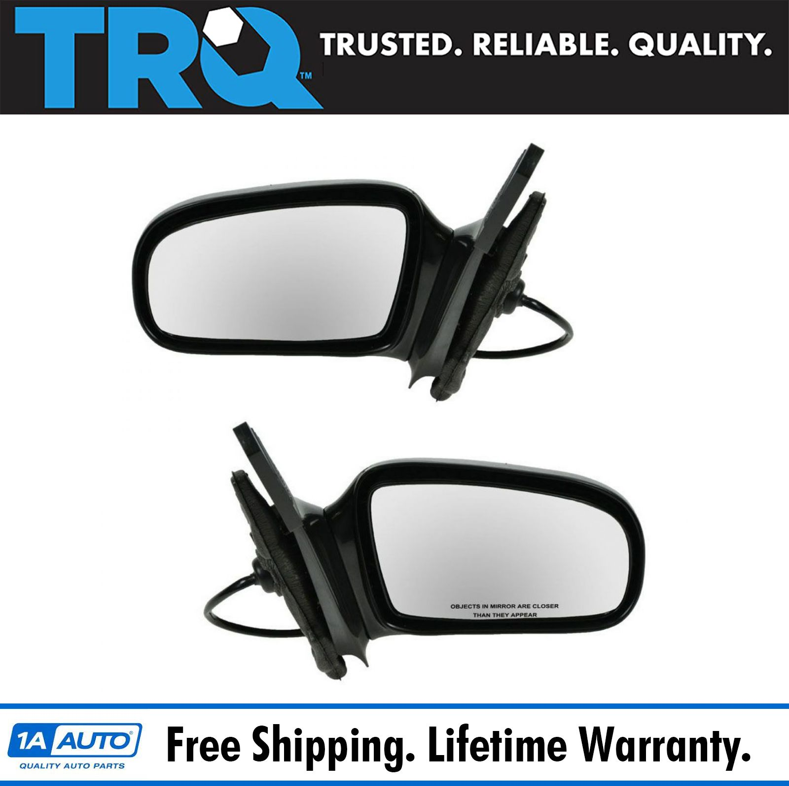 Manual Remote Black Door Mirror Left Driver for 95-05 Sunfire Cavalier Coupe