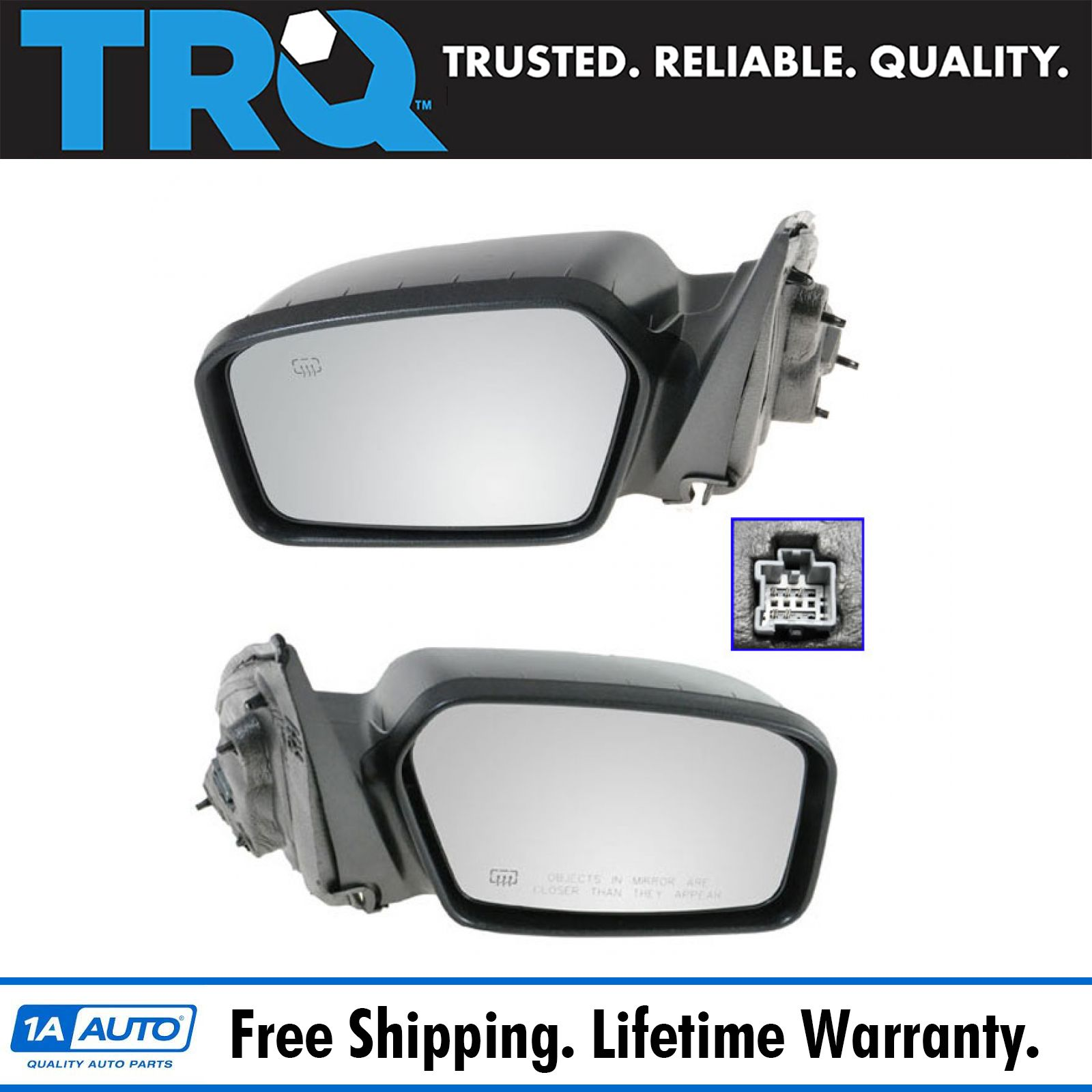Heated Power Side Mirrors Smooth Black Pair Set Left Lh Right Rh For Fusion New Ebay