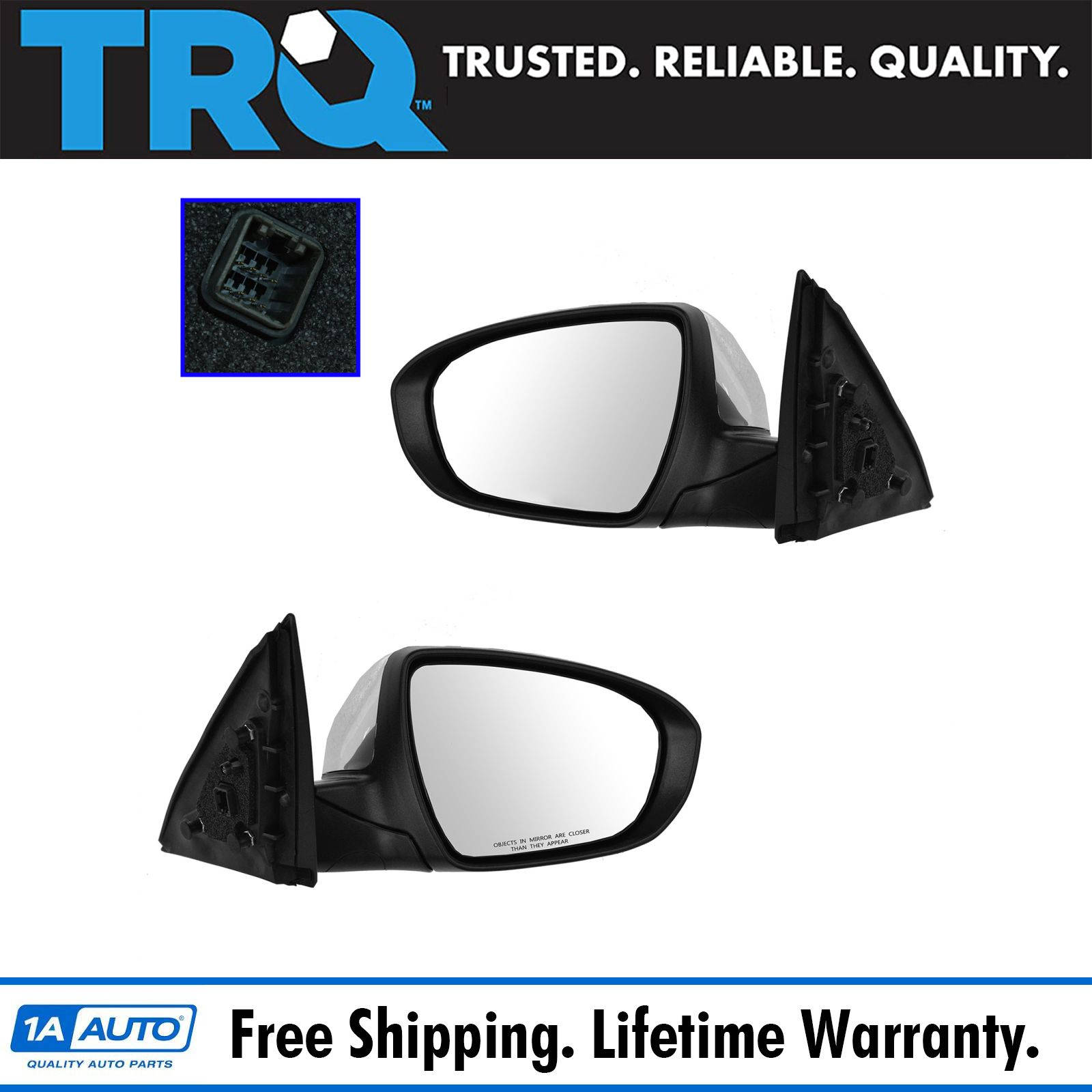 Side Power Heated Mirror Pair Set of 2 Kit for 11-13 Chevy Caprice