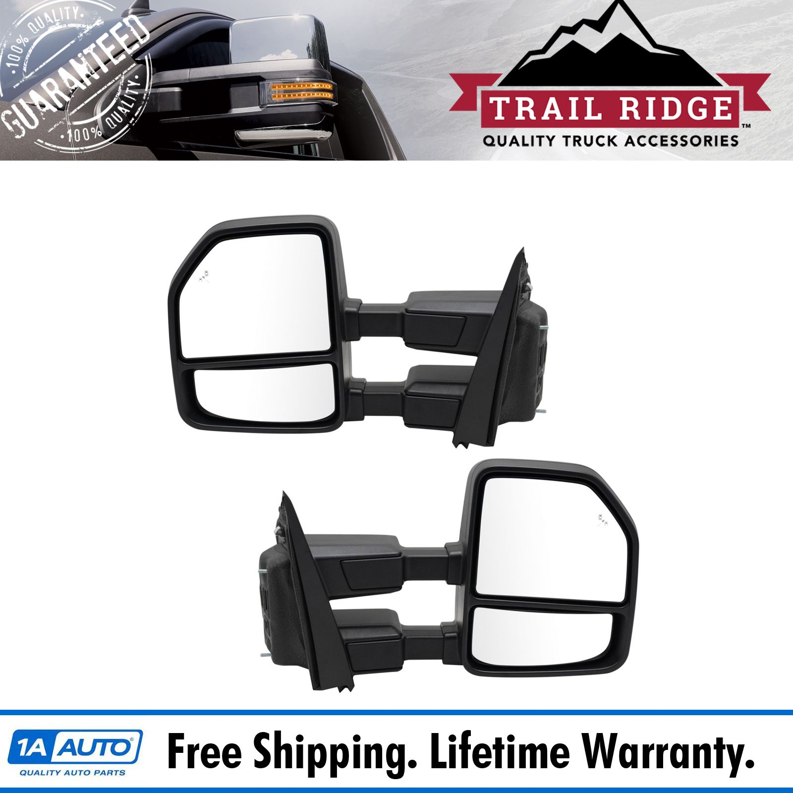 Exterior Power Heated w// Blind Spot Glass Mirror Black LH RH Pair for Ford