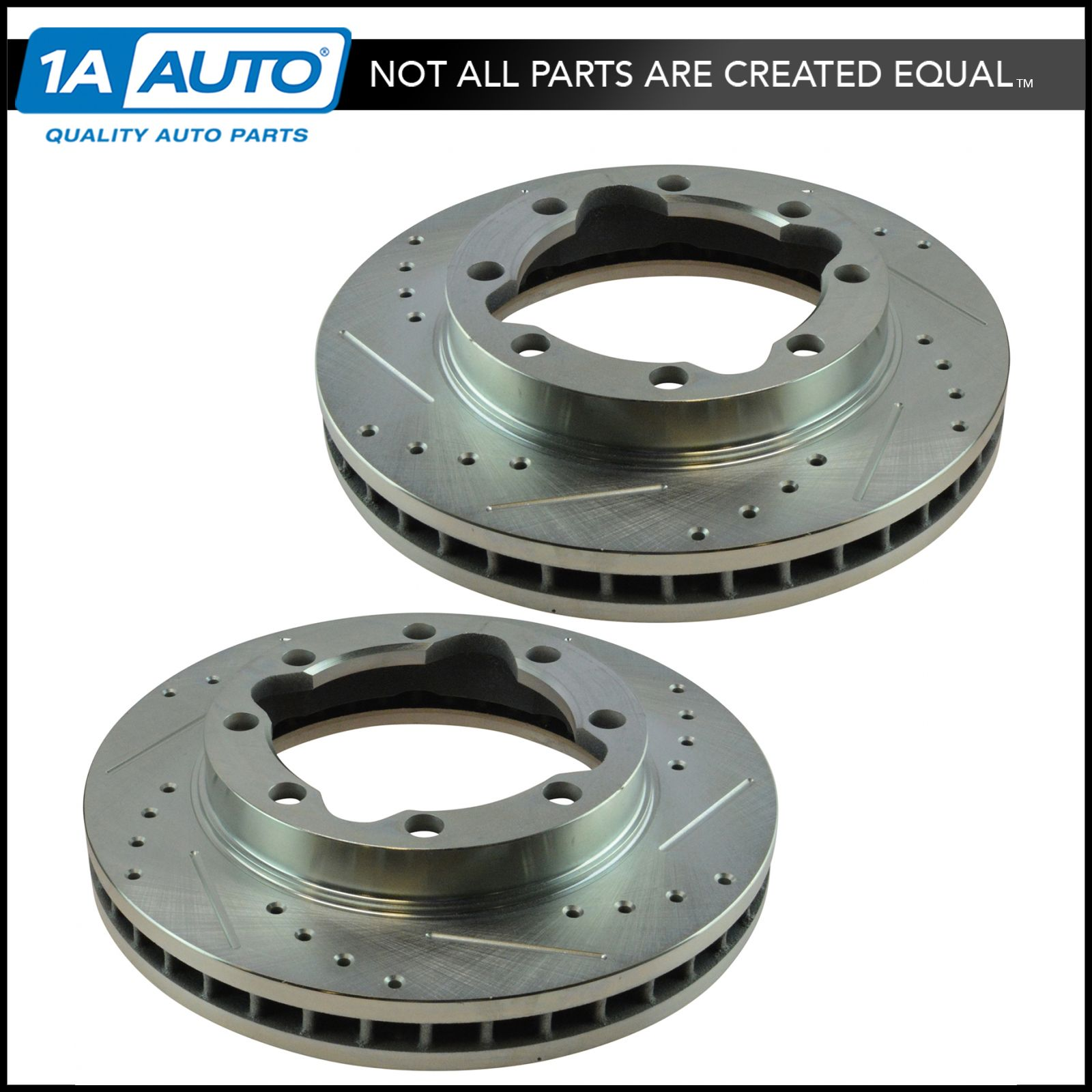 Performance Drilled & Slotted Front Zinc Coated Disc Brake Rotor Pair