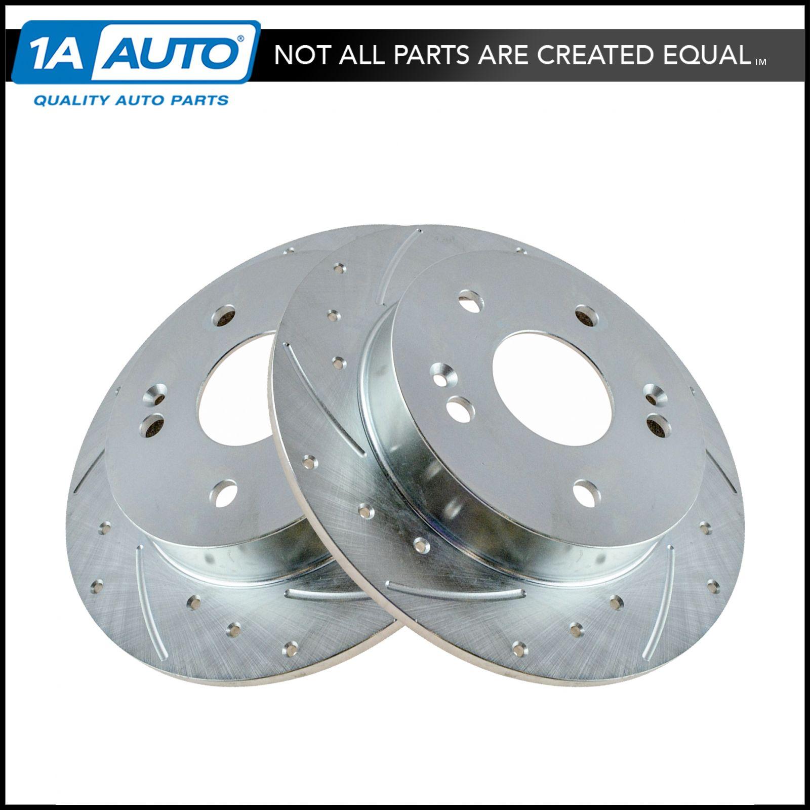 Rear Cross-Drilled Slotted Brake Rotors and Ceramic Brake Pads BLCR.63051.02