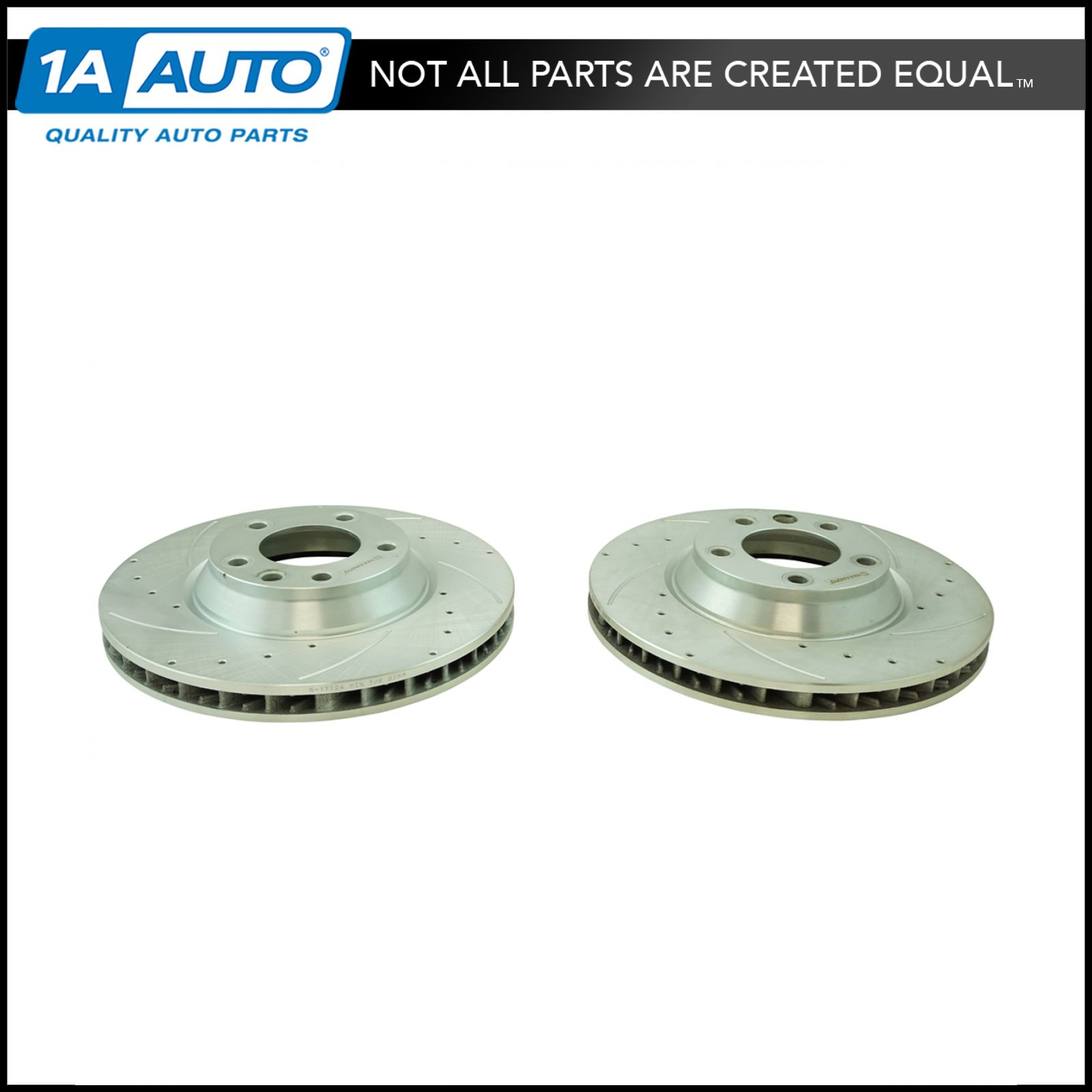Nakamoto Performance Brake Rotor Drilled Slotted Front Zinc Coated Pair for Audi