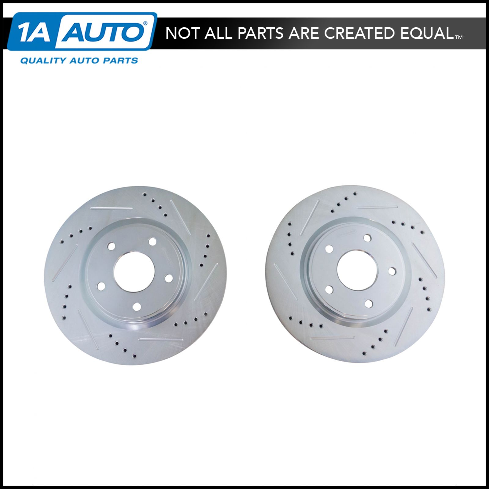 Nakamoto Brake Rotor Performance Drilled Slotted Zinc Coated Rear Pair for Dodge