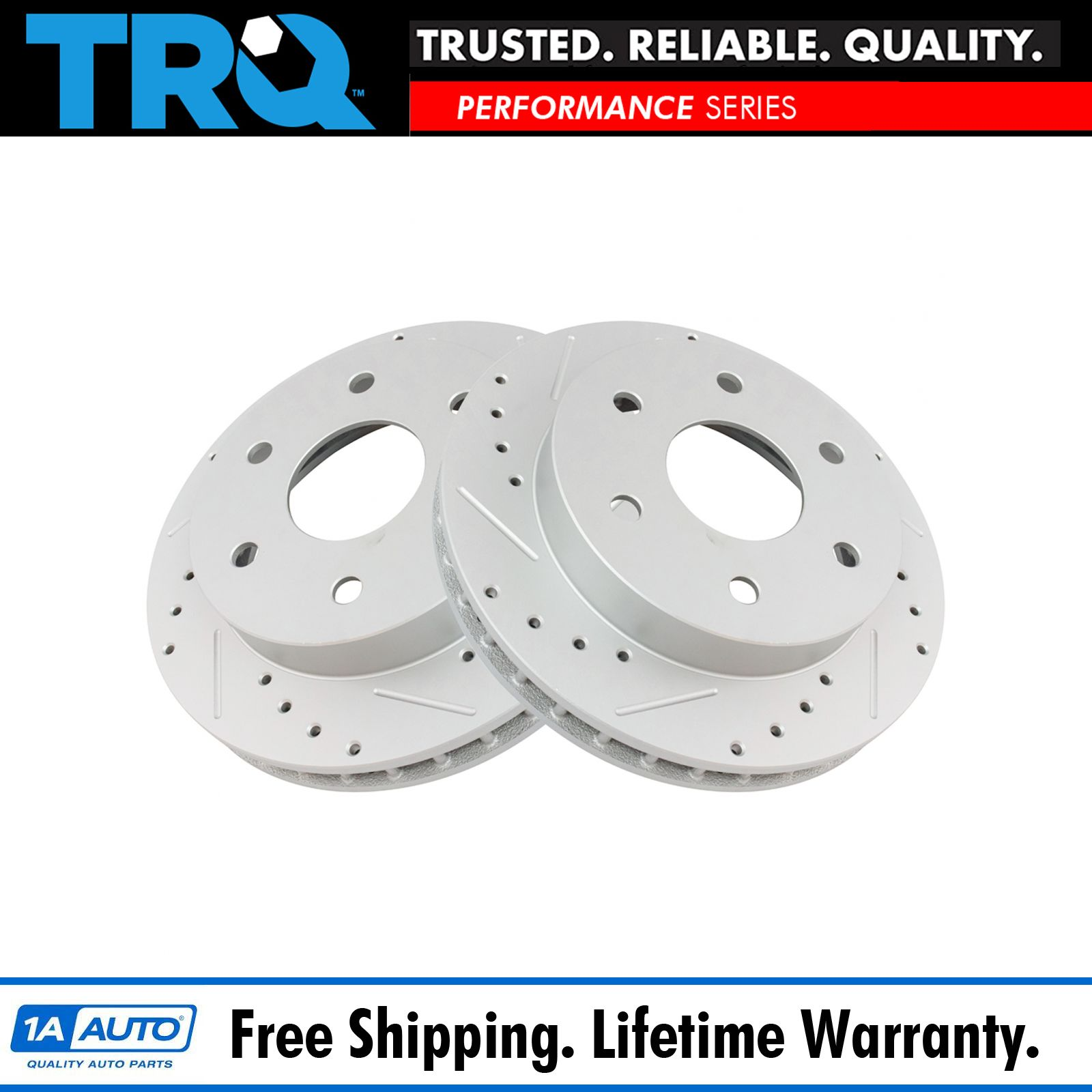 Performance Brake Rotor Drilled /& Slotted Front Coated Pair for Nissan
