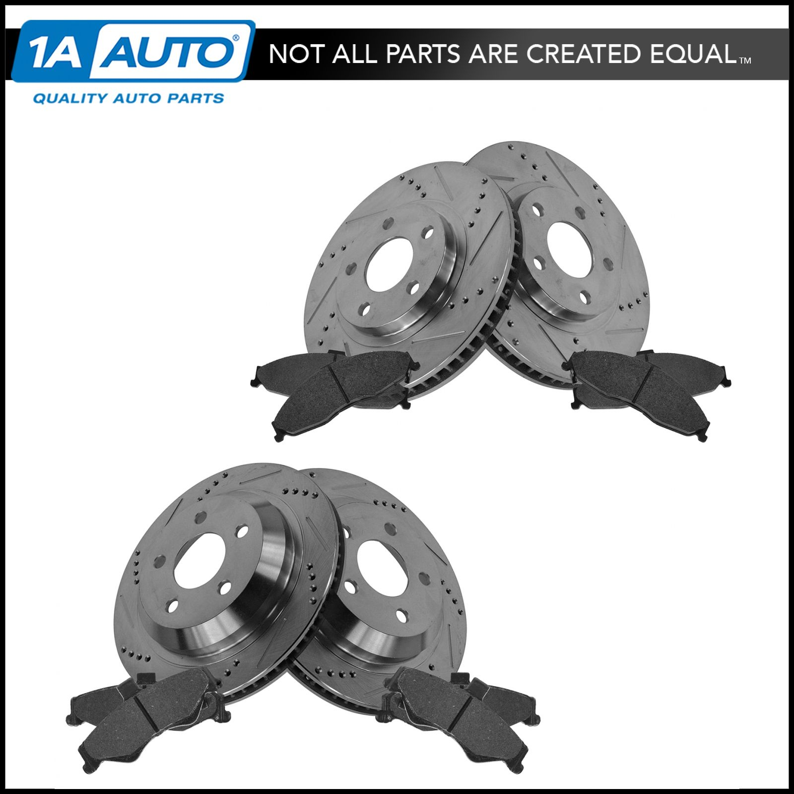 Rotor /& Brake Pad Posi Metallic Performance Drilled Slotted Front Rear Kit Set
