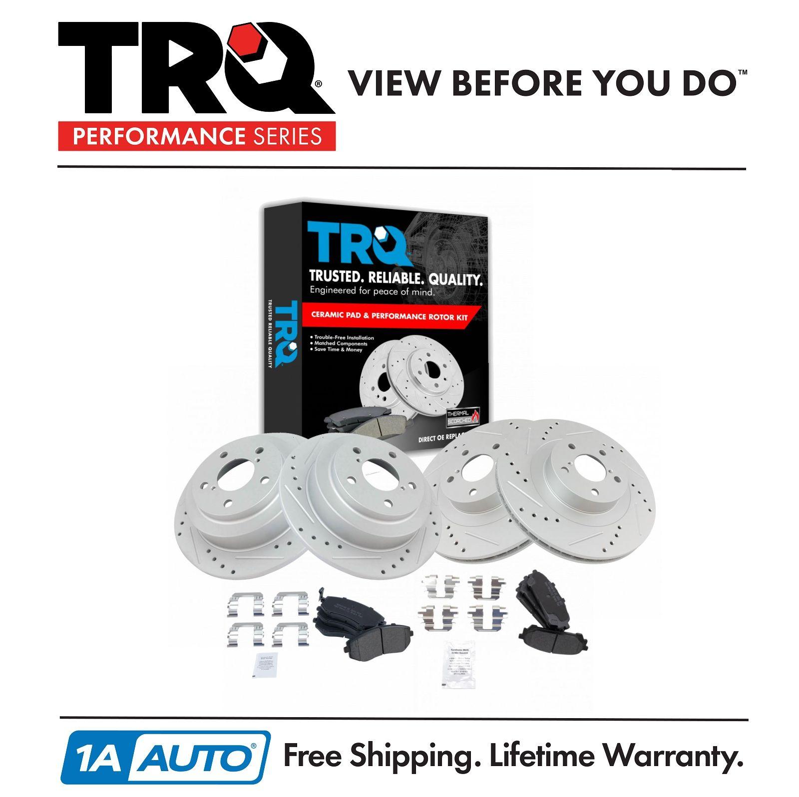 Nakamoto Front /& Rear Performance Drilled Slotted Rotor /& Metallic Brake Pad Kit