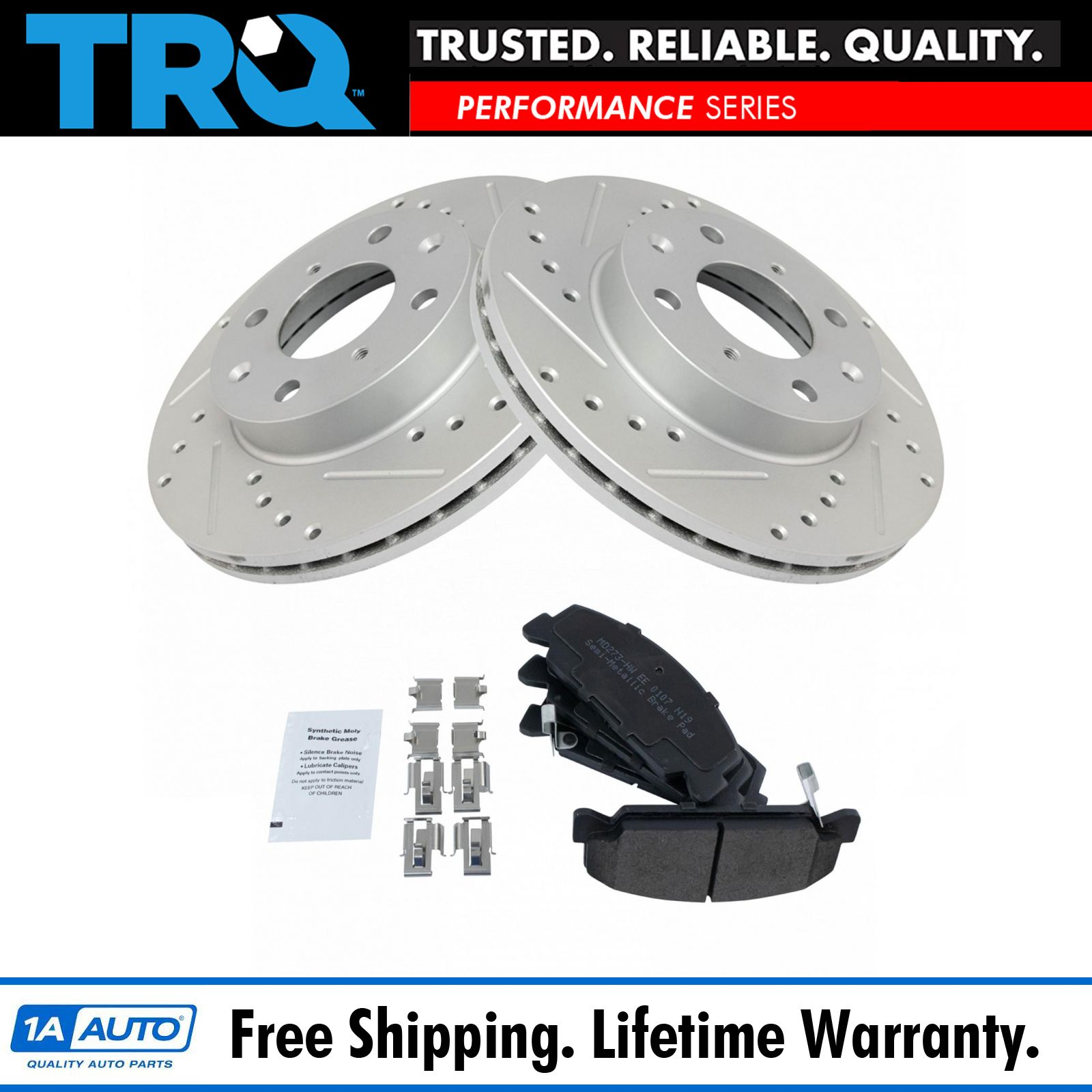 Nakamoto Performance Drilled Slotted Rotor /& Ceramic Brake Pad Front Set for BMW