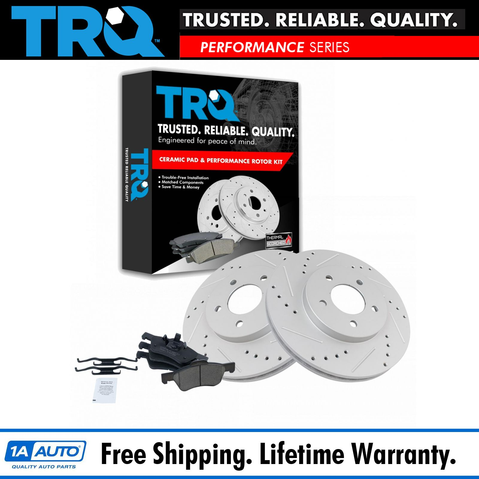 TRQ Brake Rotor Drilled /& Slotted Coated /& Ceramic Pad Front Set for Chevy