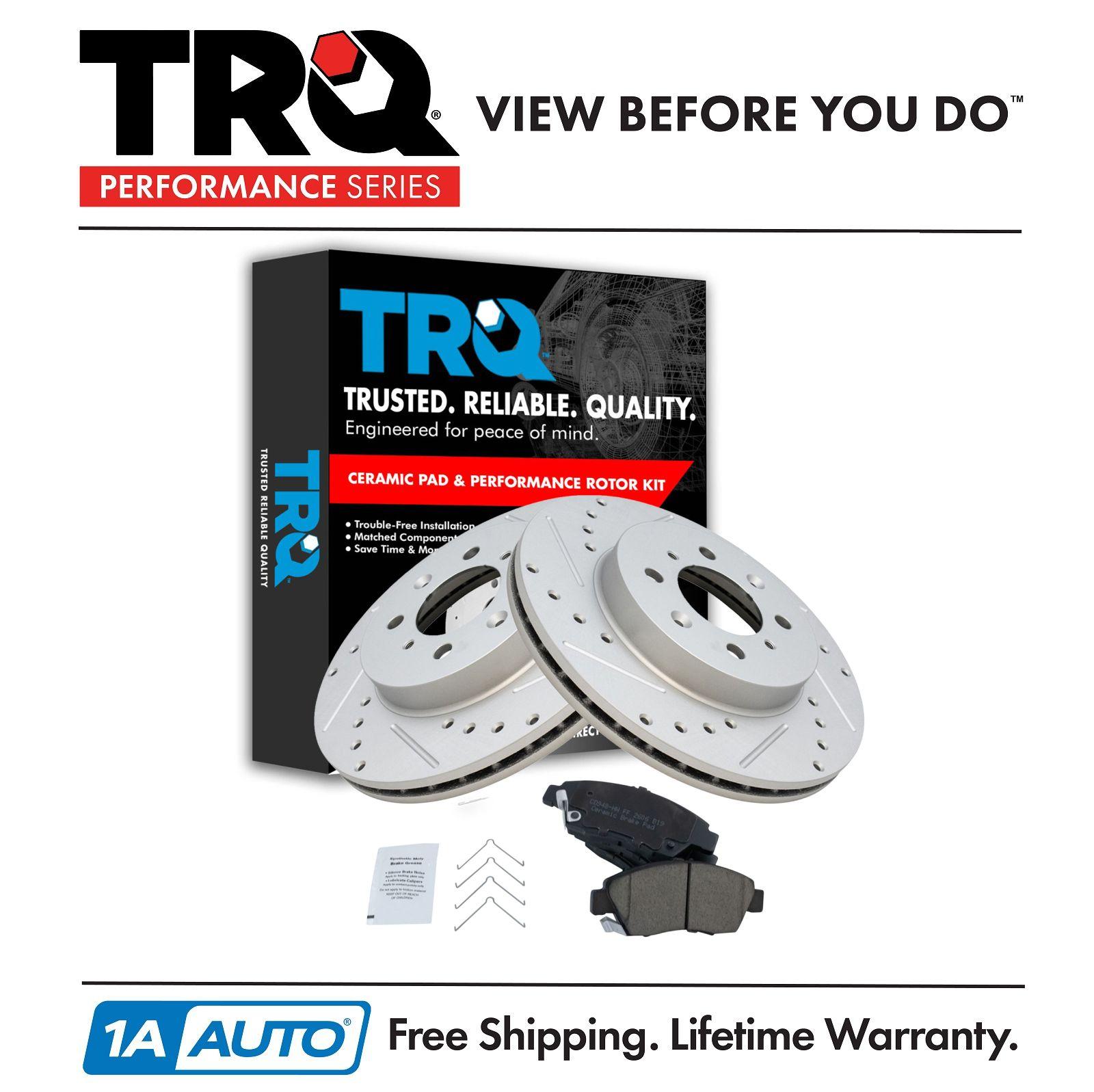 Nakamoto Performance Drilled /& Slotted Brake Rotor /& Posi Ceramic Pad Rear Kit