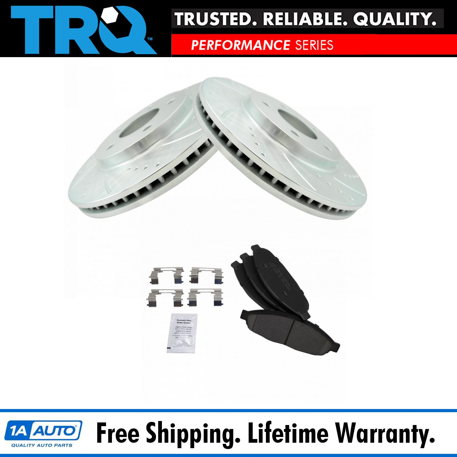 """Brake Rotors FRONT+REAR KIT ELINE /""""DRILLED AND SLOTTED/"""" /& CERAMIC PADS RA53034"""