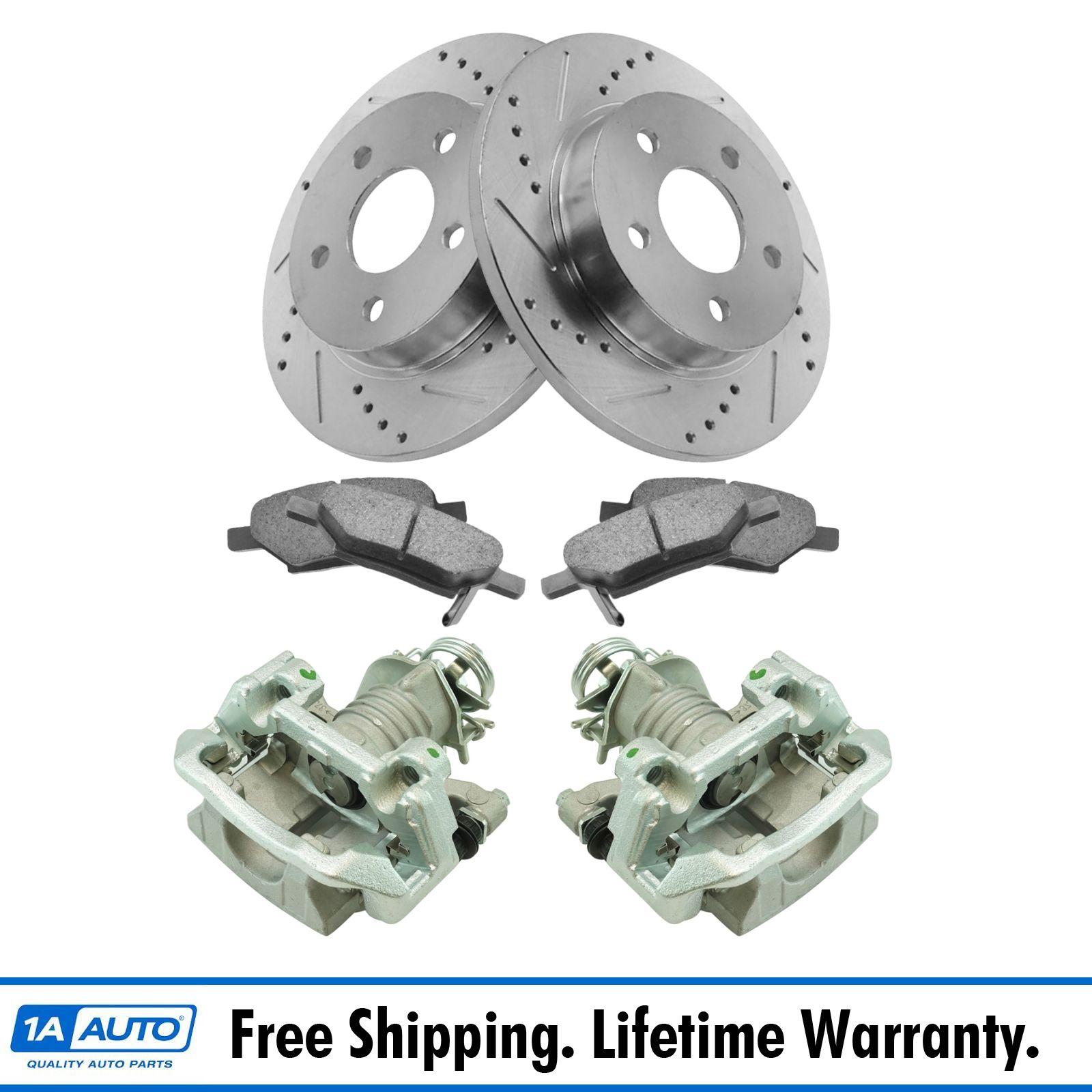 Front Brake Ceramic Brake Pad Performance Rotor /& New Caliper Pair Kit for Honda