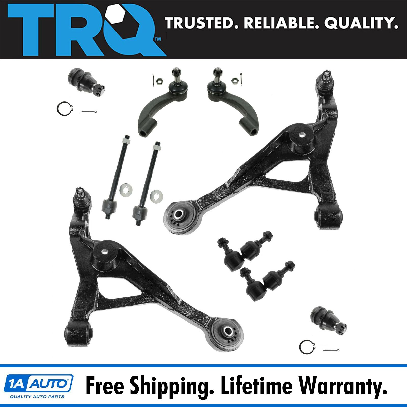 TRQ Front Arm Ball Joint Sway Link Tie Rod 10pc Kit For