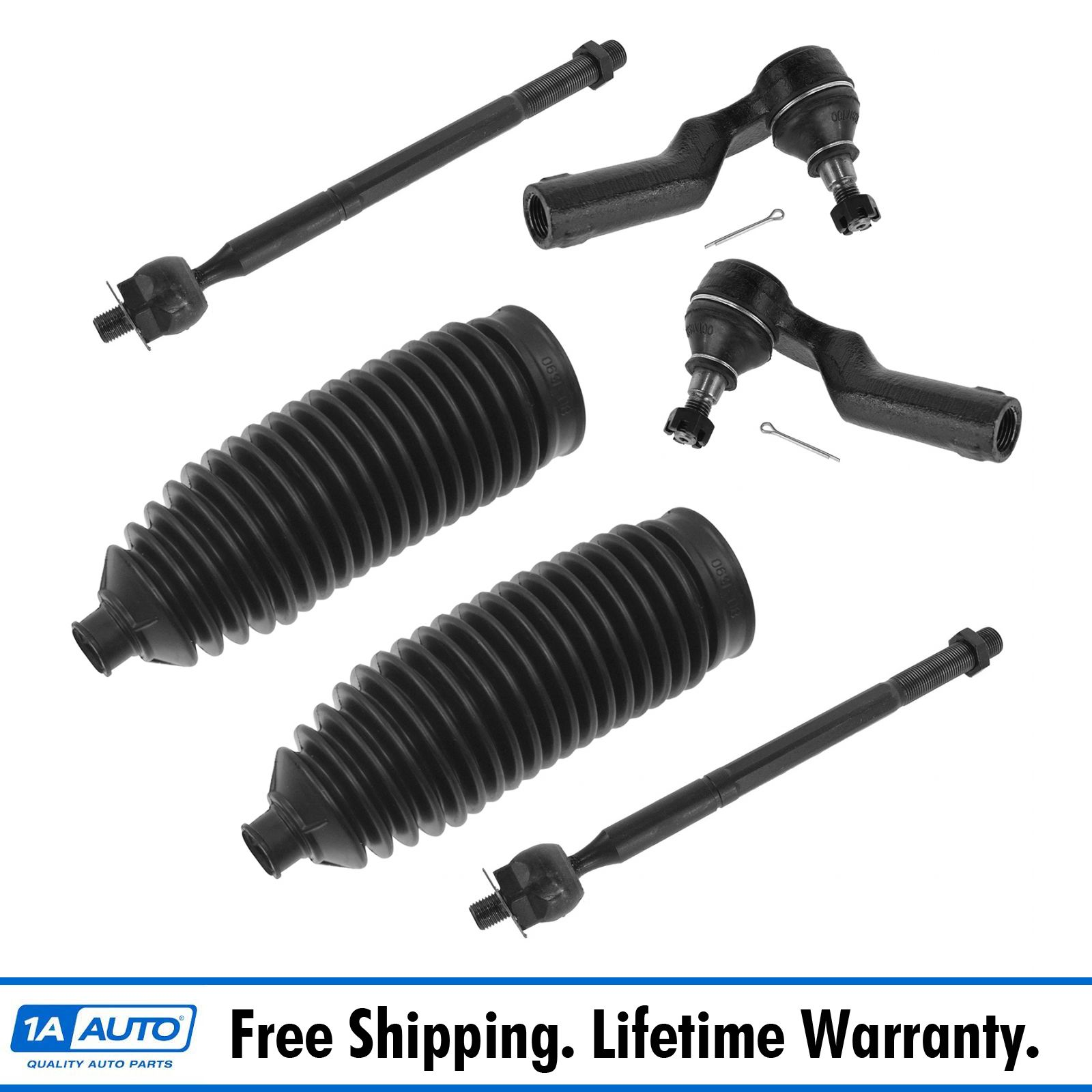 Inner Outer Tie Rod w// Steering Rack /& Pinion Bellow LH RH Set of 6 for Lexus