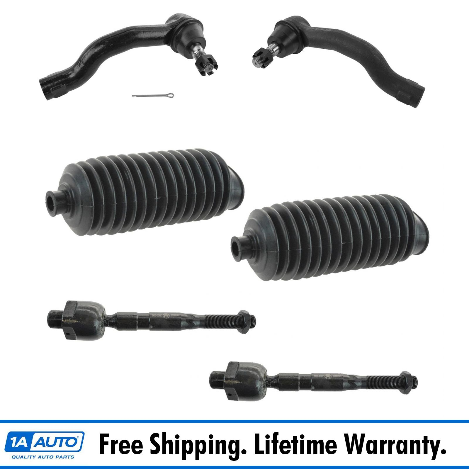 PartsW 6 Pc Front Outer Inner Tie Rod End Bellow Boots Steering Kit for Nissan Frontier Nissan Pathfinder Nissan Xterra