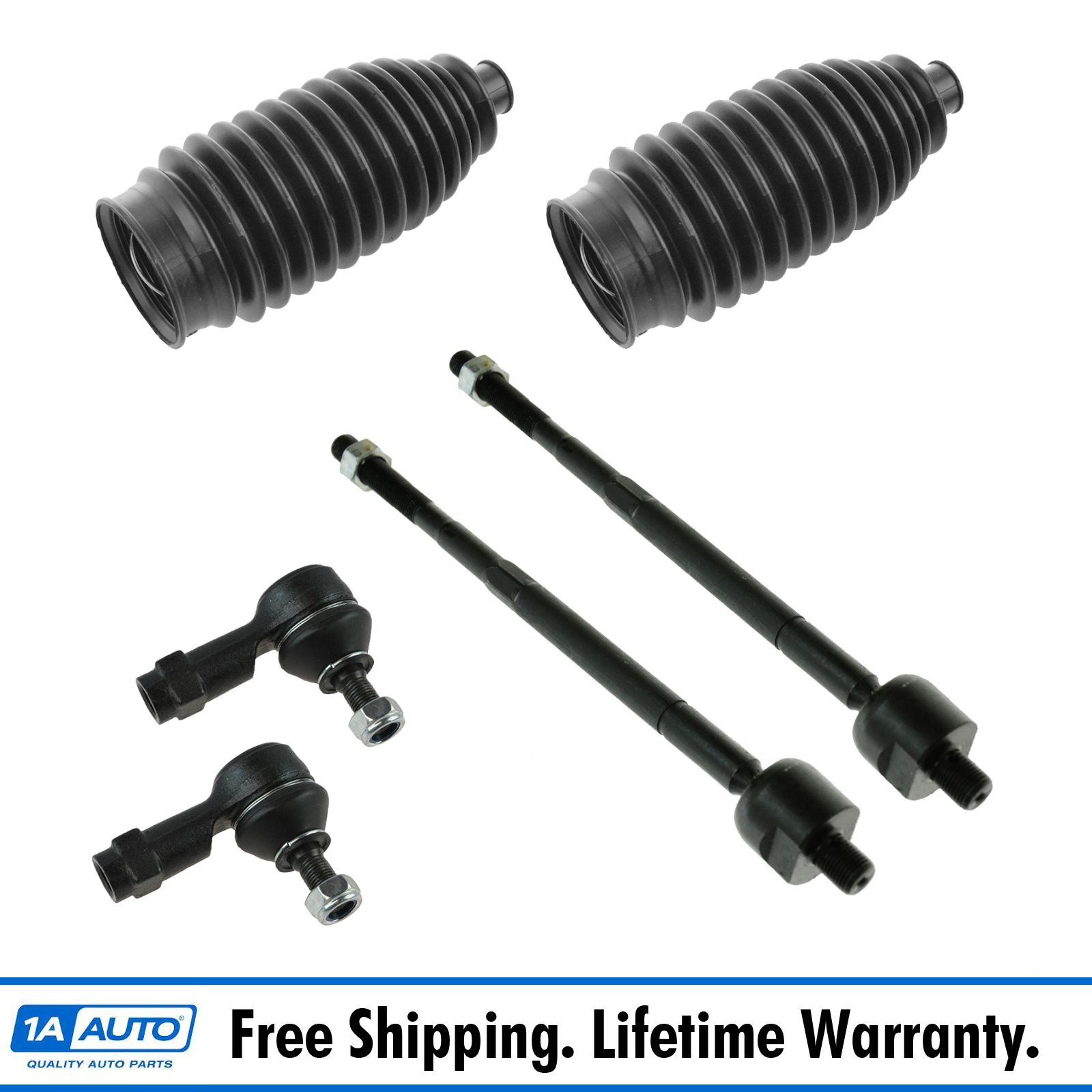 PartsW 6 Pieces Steering Kit 2 Rack and Pinion Bellow Boot 2 Outer Tie Rod Ends 2 Inner
