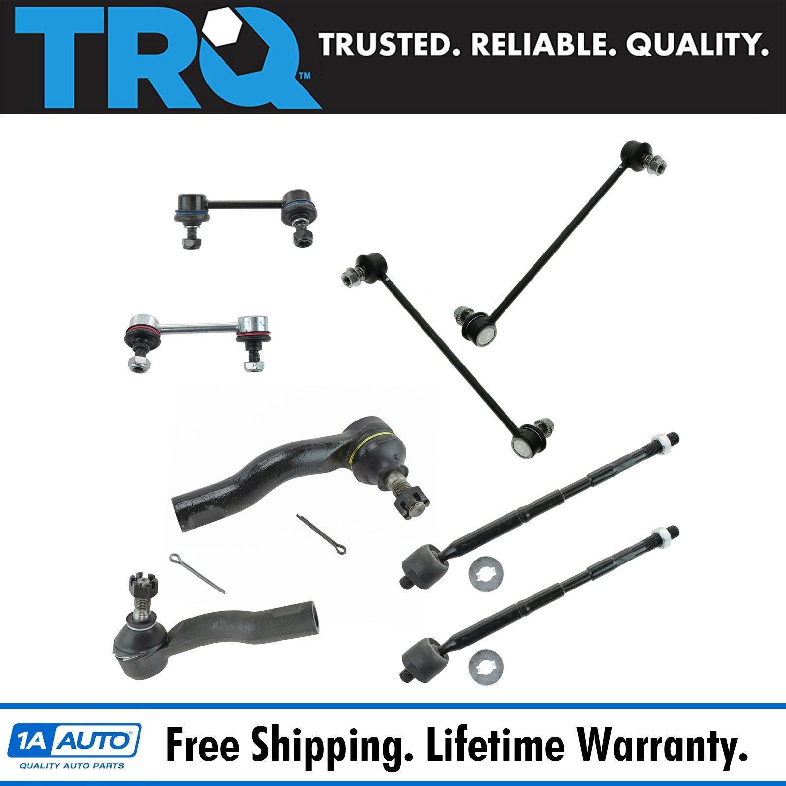 2 Inner 2 Outer Tie Rod Ends 2 Sway Bar Link Repair Kit NEW
