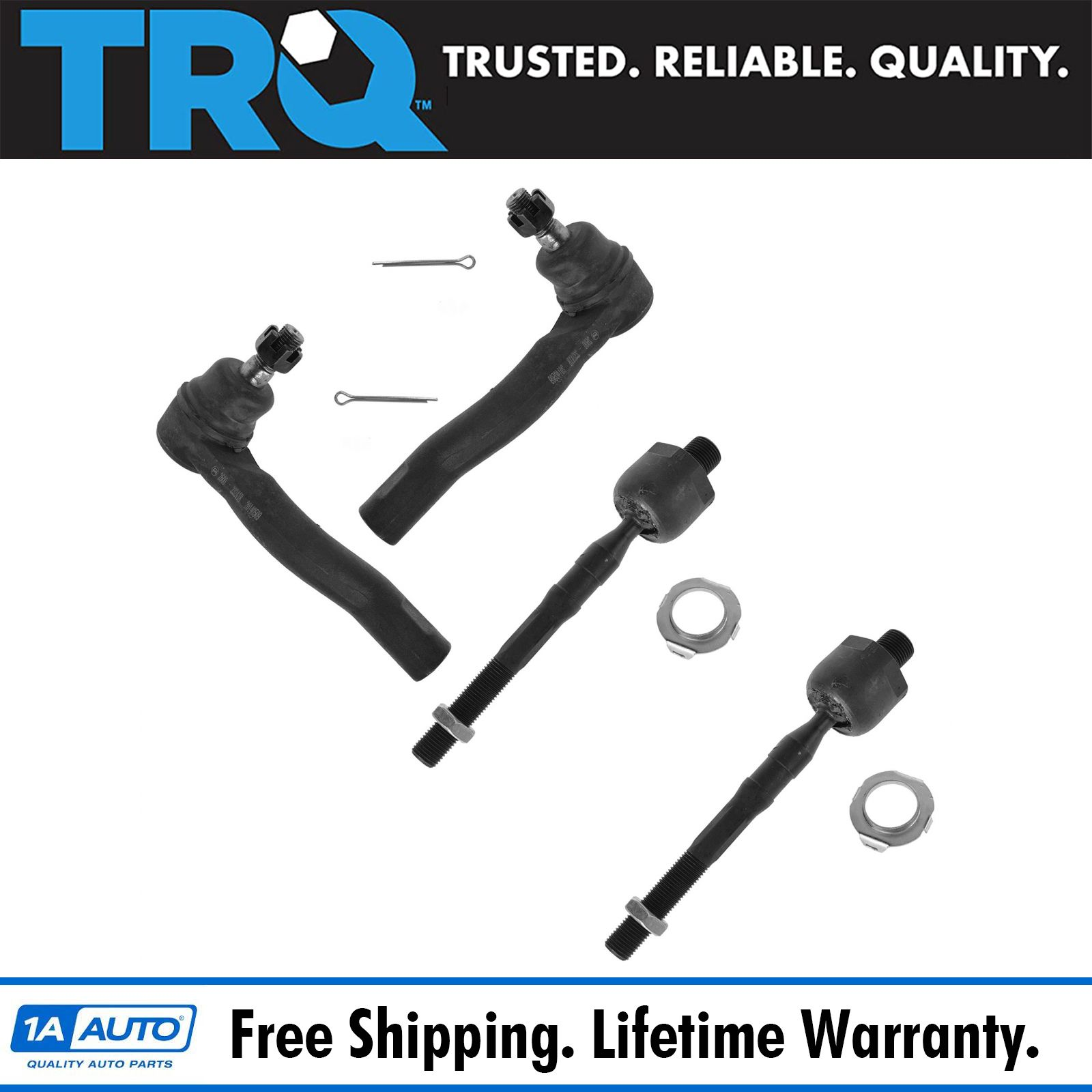 Front Steering Tie Rod Ends Inner Outer Kit Set 4pc For