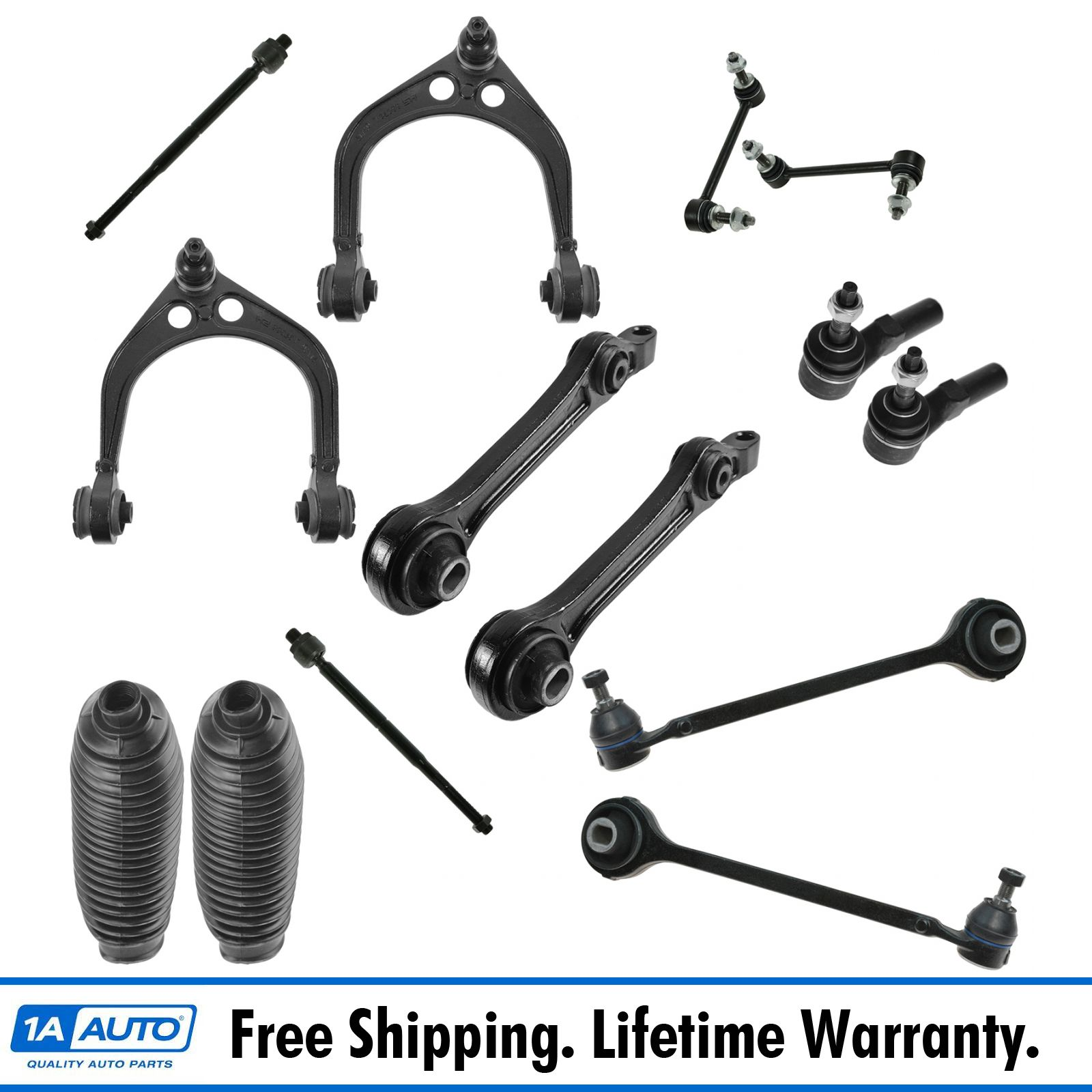 14 Piece Steering /& Suspension Kit Control Arms Ball Joints Tie Rods End Links