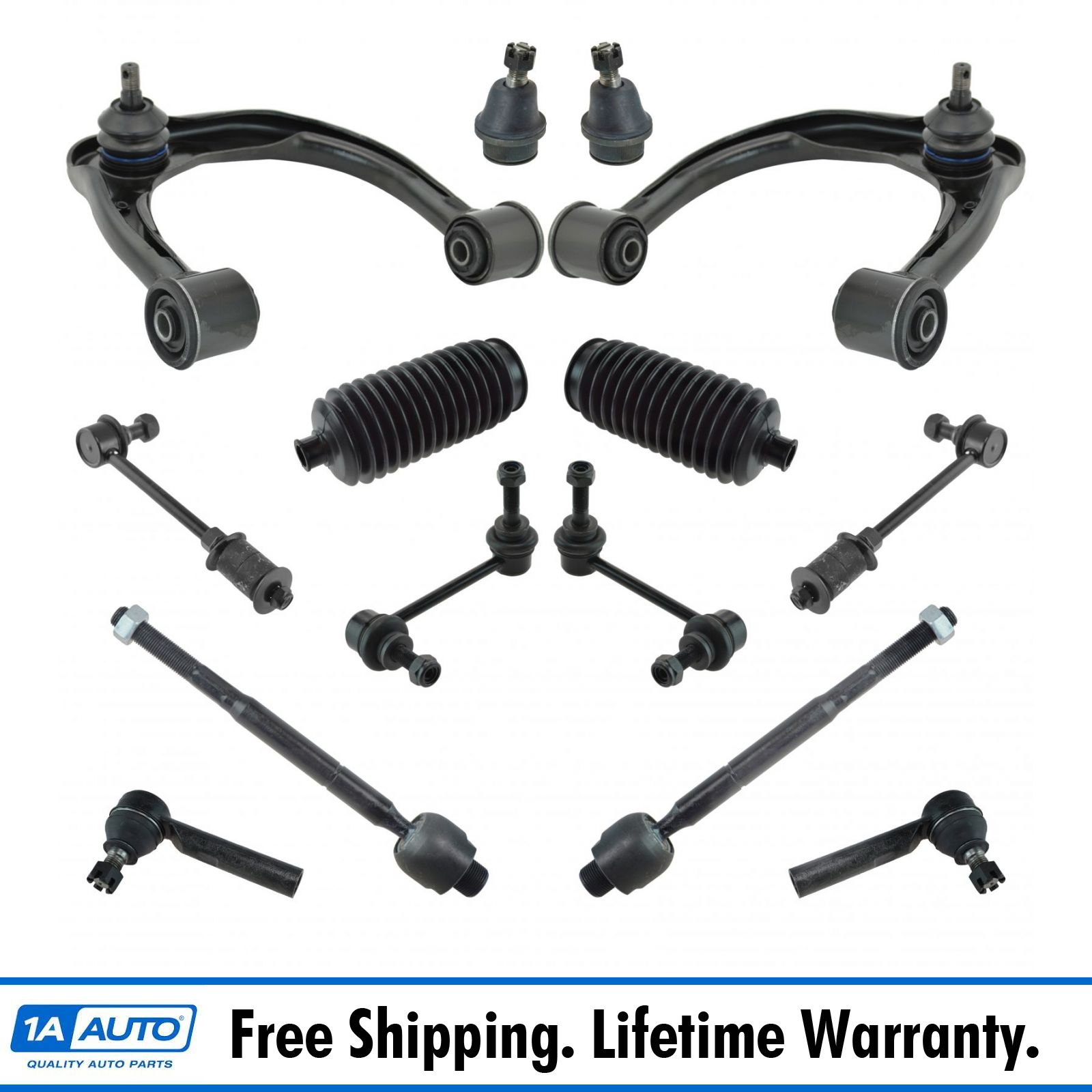 Lower Control Arms Ball Joints and Outer Tie Rod Links for Mazda New 4pc Kit
