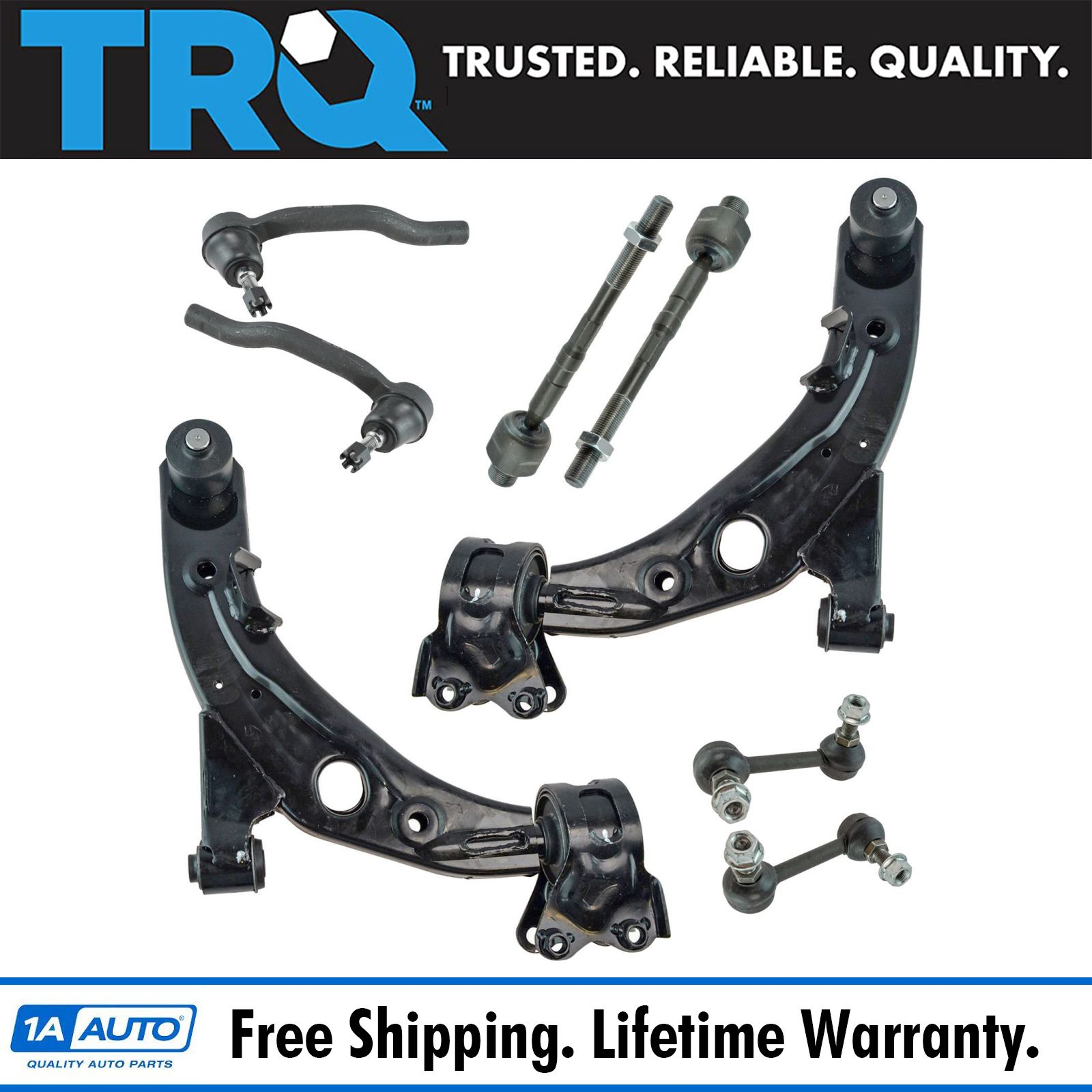 12 Piece Kit Upper Front /& Rear Control Arms Ball Joints Tie Rod Ends Sway Ba...