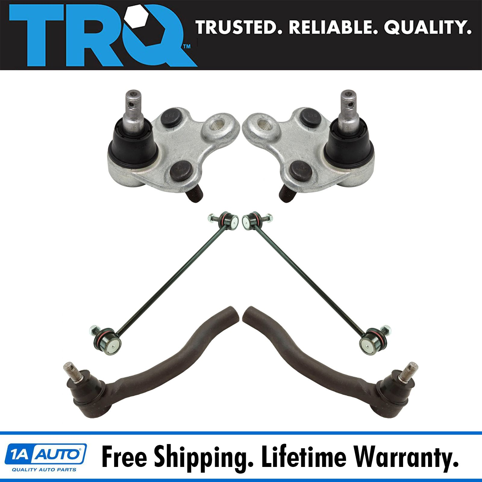 TRQ 6pc Steering Suspension Kit Lower Ball Joints Sway Bar