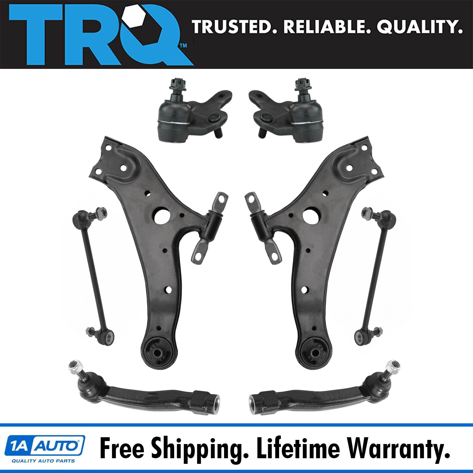 8 Piece Kit Upper Control Arms Ball Joint Tie Rod End Wheel Hub Bearing LH RH