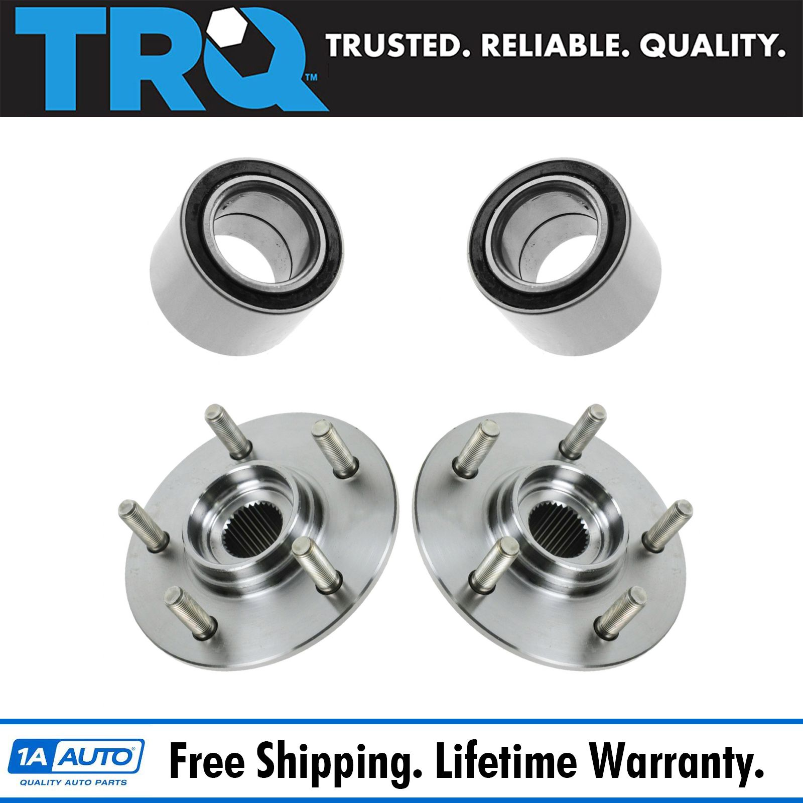 TRQ Front Wheel Hubs /& Bearings Pair Set for 04-06 Chrysler Pacifica w//ABS