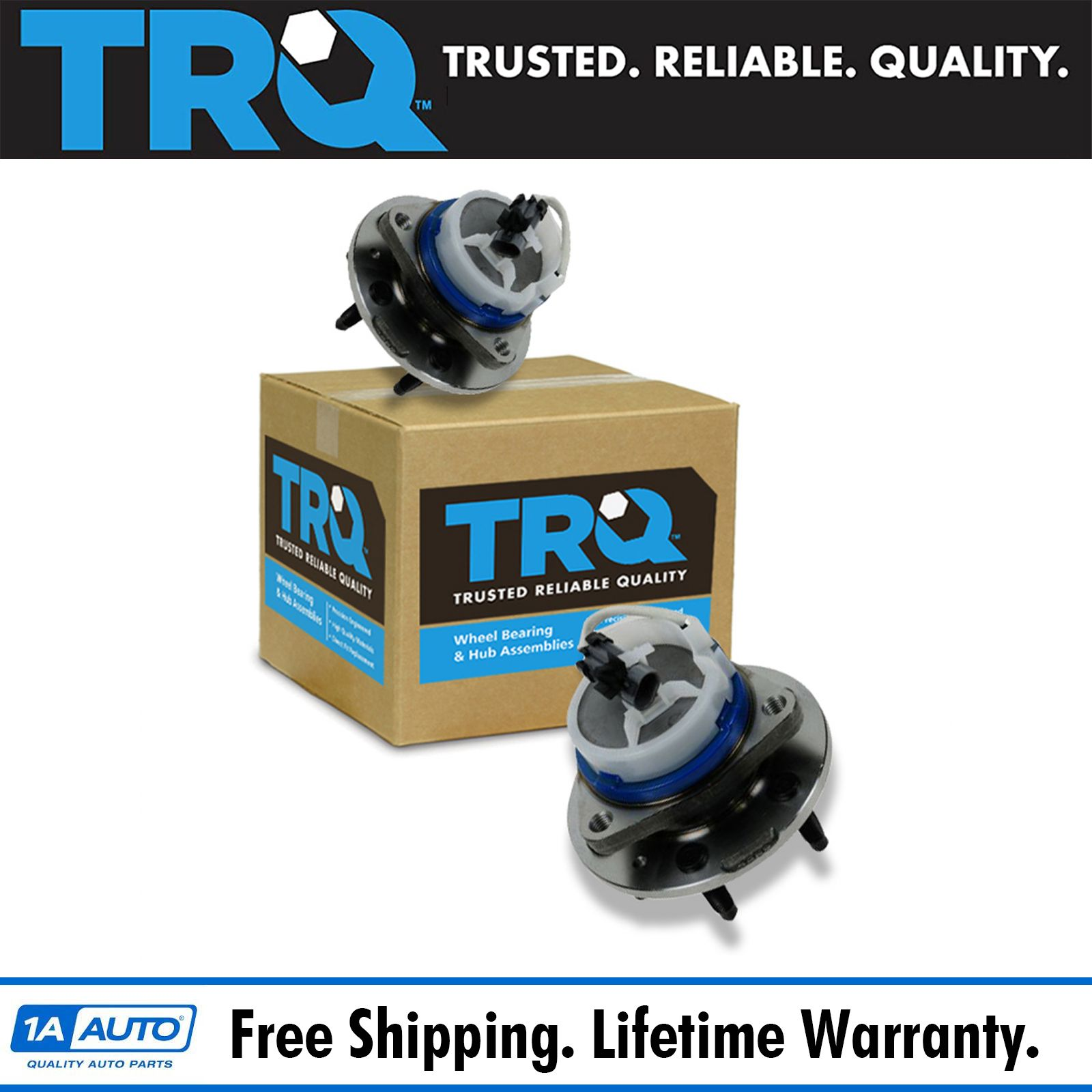 TRQ 6 Lug Front Wheel Hub & Bearing Pair Set For Cadillac